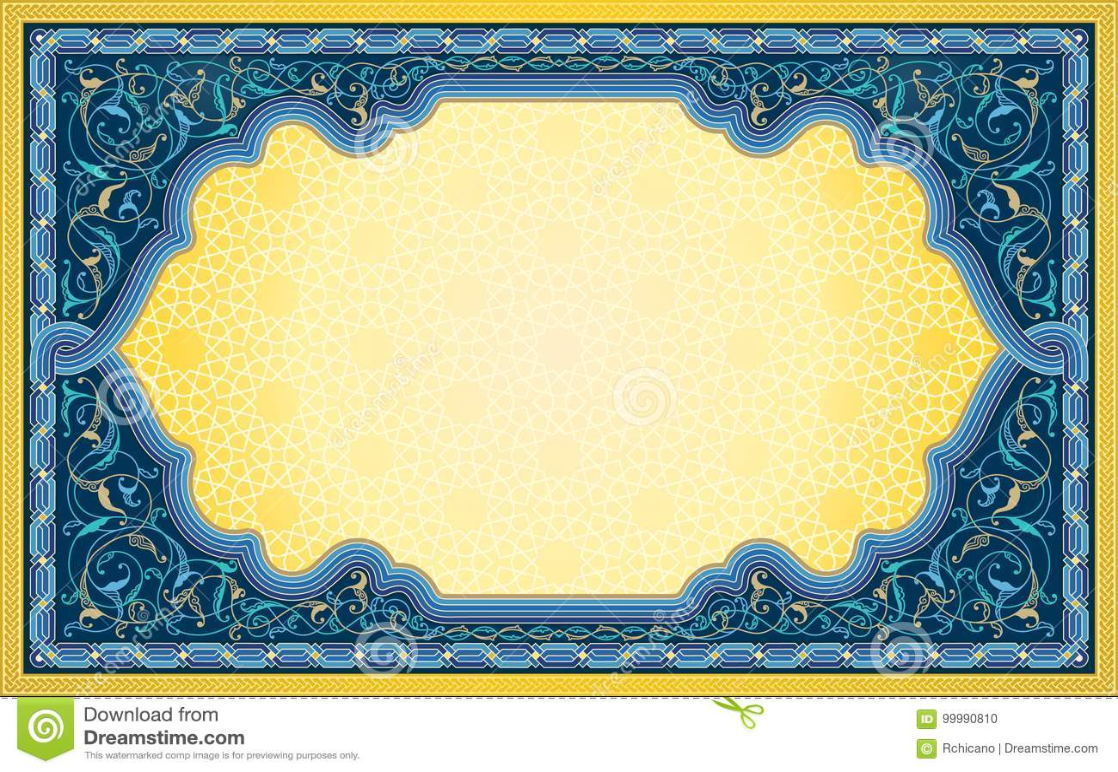 Fondo del Medio-Oriente di arte in blu e nel colore dell oro