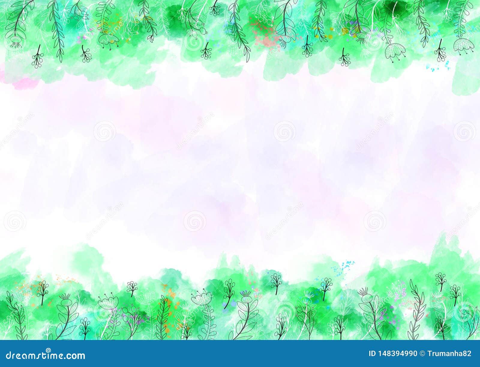Fondo del modello dell acquerello con il confine verde e floreale