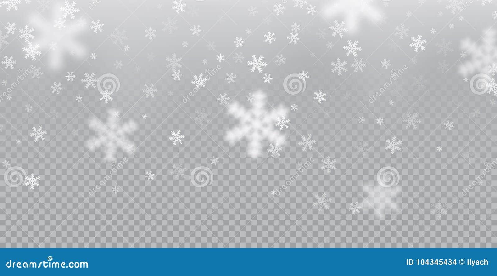 Fondo del modelo del copo de nieve que cae de la textura fría blanca de la capa de las nevadas en fondo transparente Nieve f de N