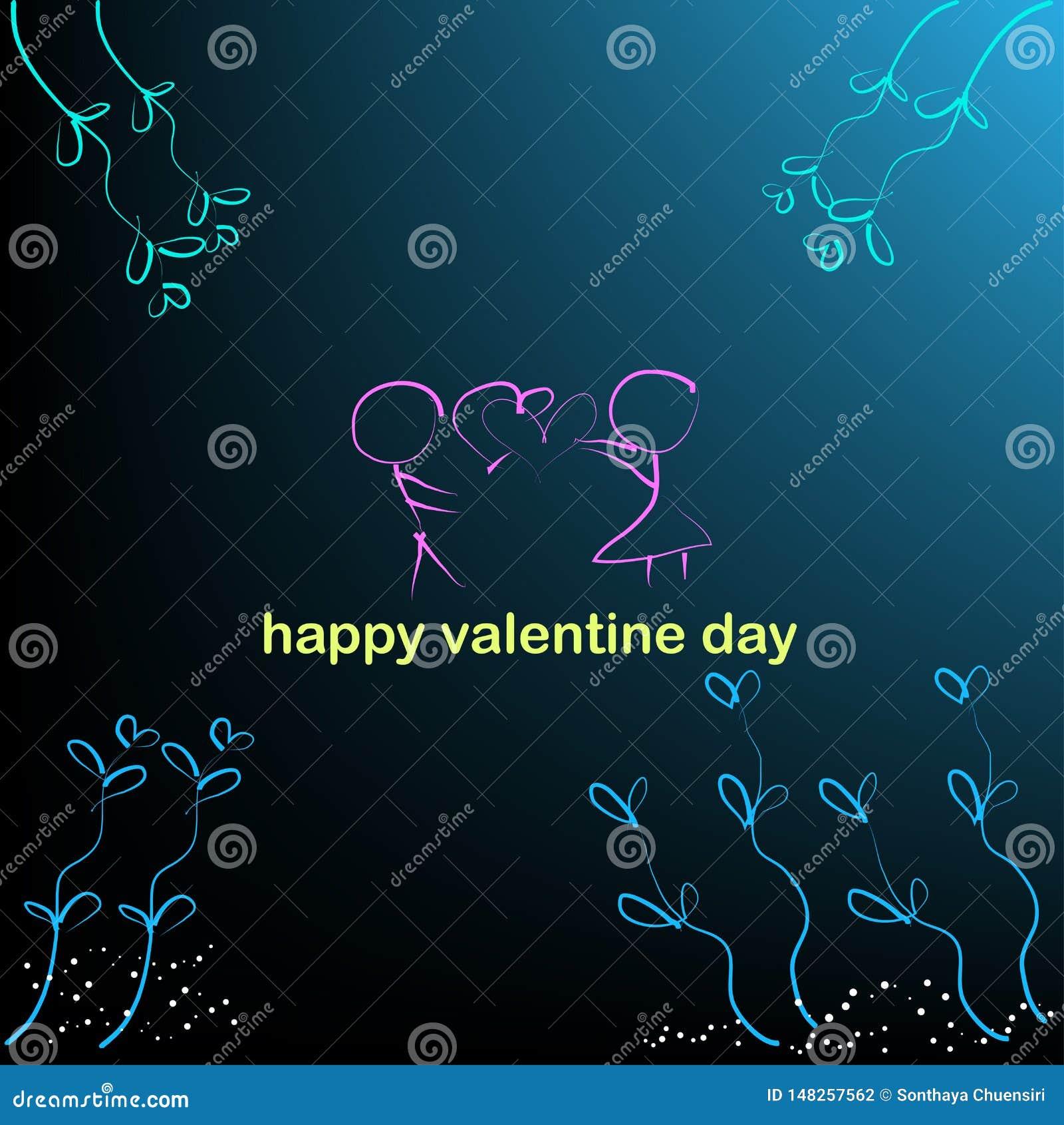 Fondo del muchacho y de la muchacha y corazones en ejemplos del vector del día de San Valentín