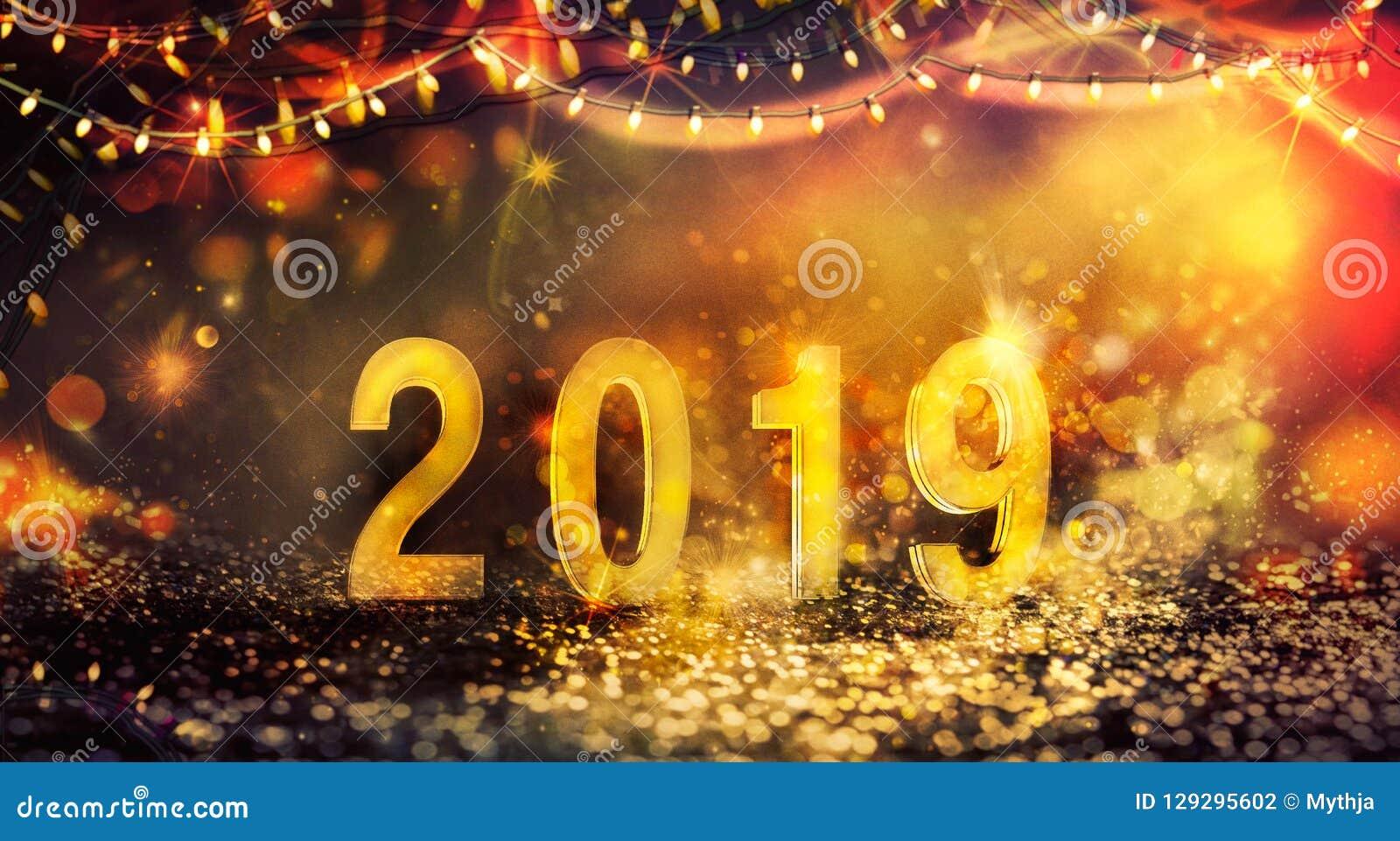 Fondo del nuovo anno con le luci brillanti
