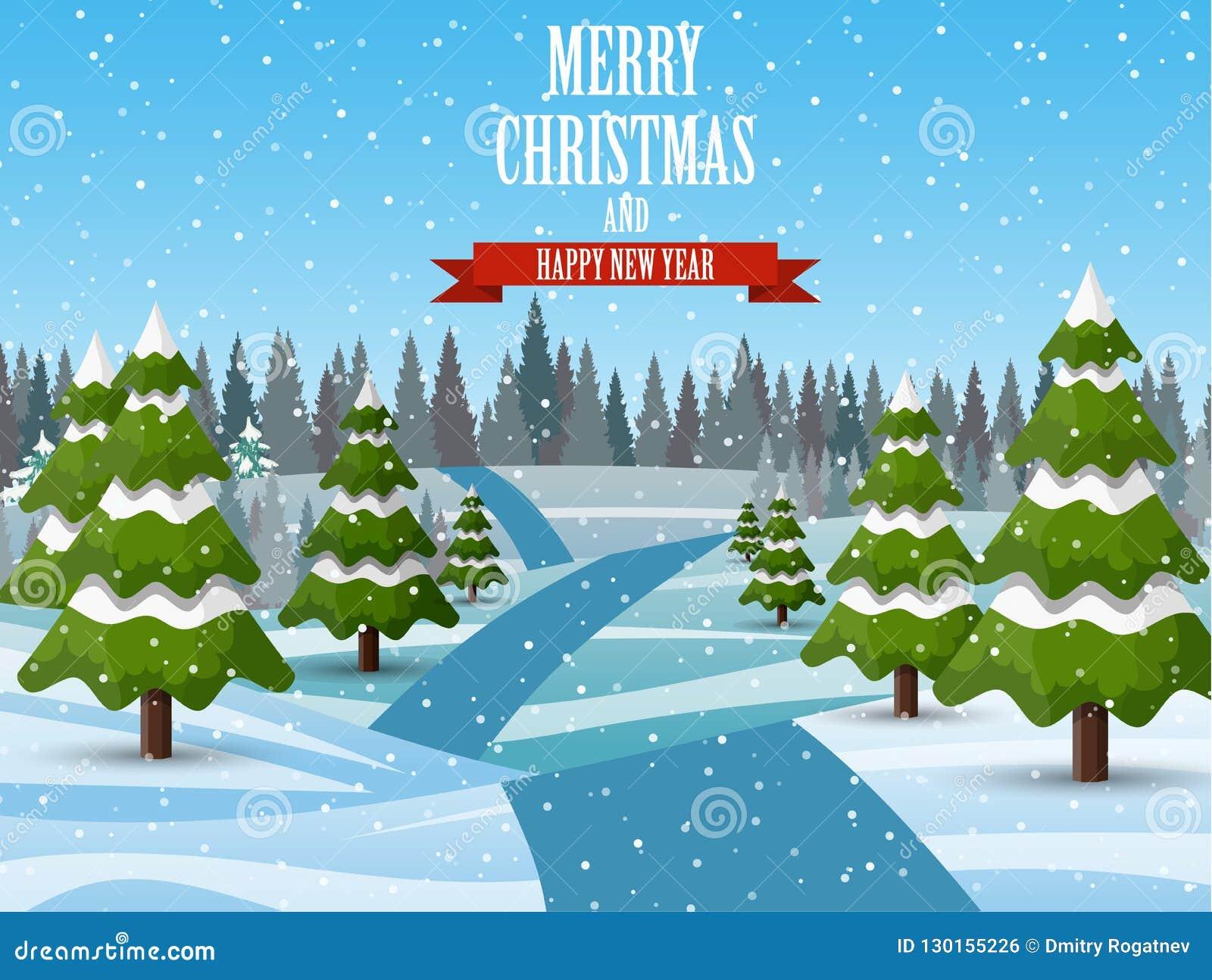 Immagini Di Natale Paesaggi.Fondo Del Paesaggio Di Natale Con Neve E L Albero