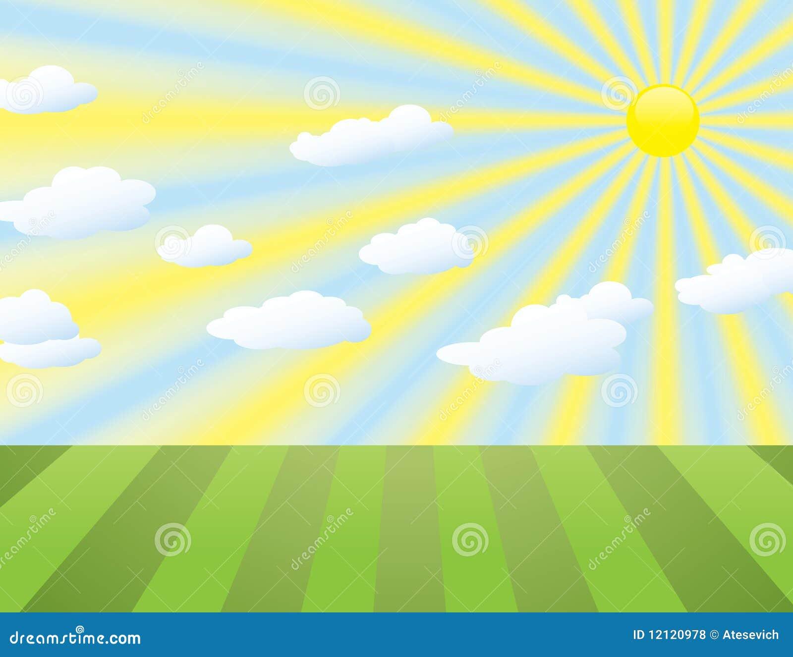 Fondo del paisaje con los rayos y las nubes del sol stock for Fondo del sol