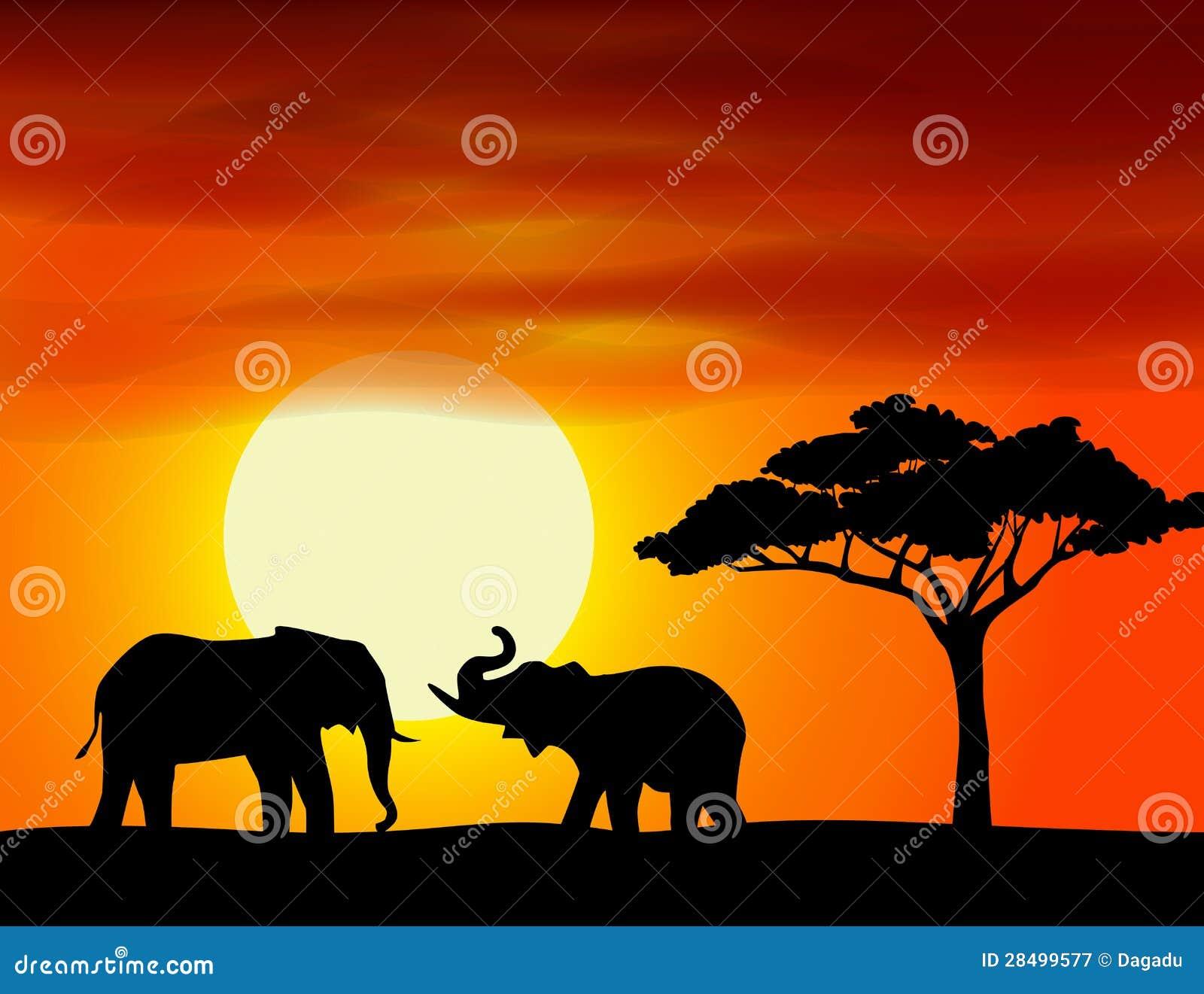 Fondo Del Paisaje De áfrica Con El Elefante Stock De Ilustración Ilustración De Salvaje Paisaje 28499577