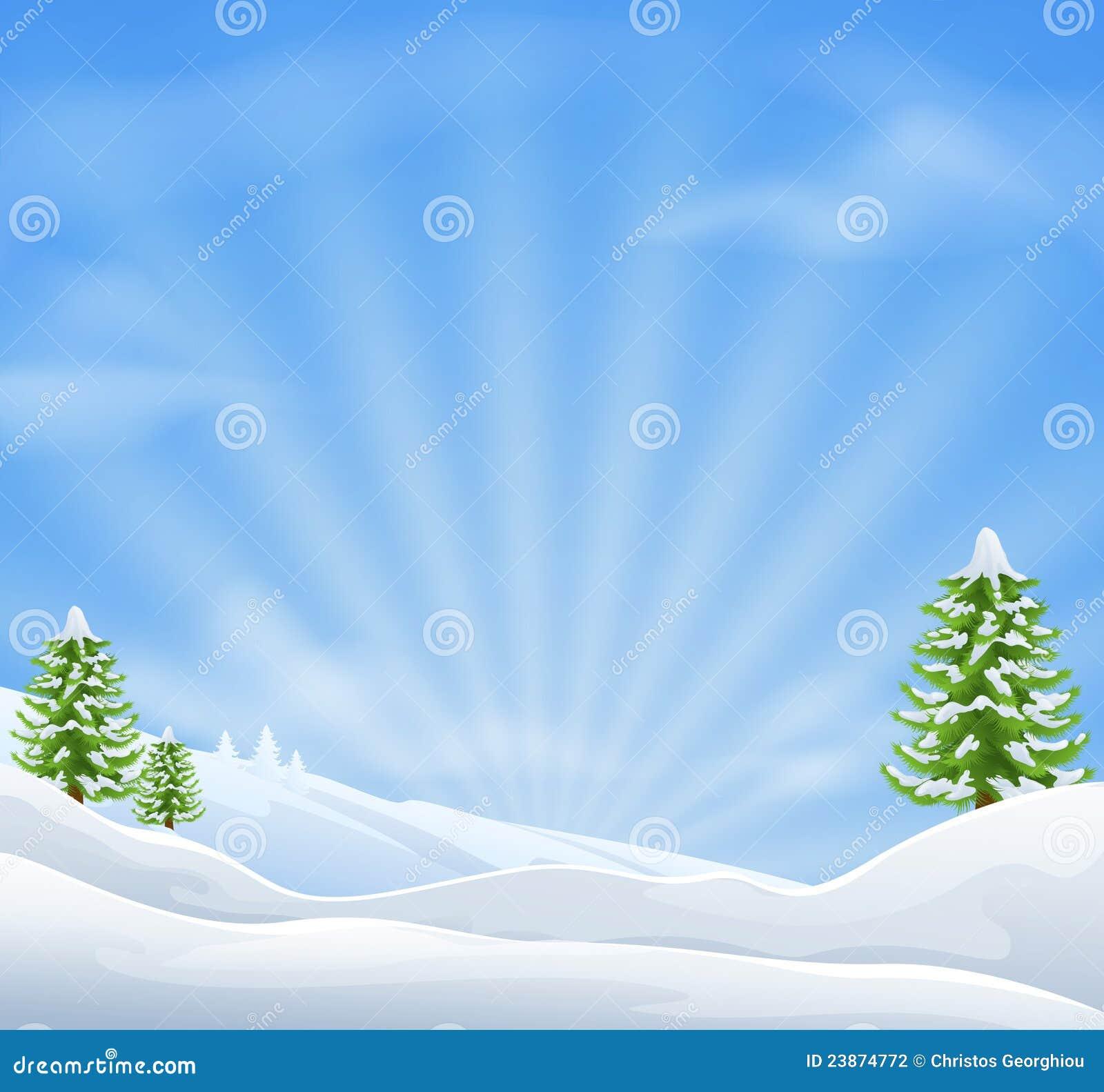Fondo del paisaje de la nieve de la Navidad