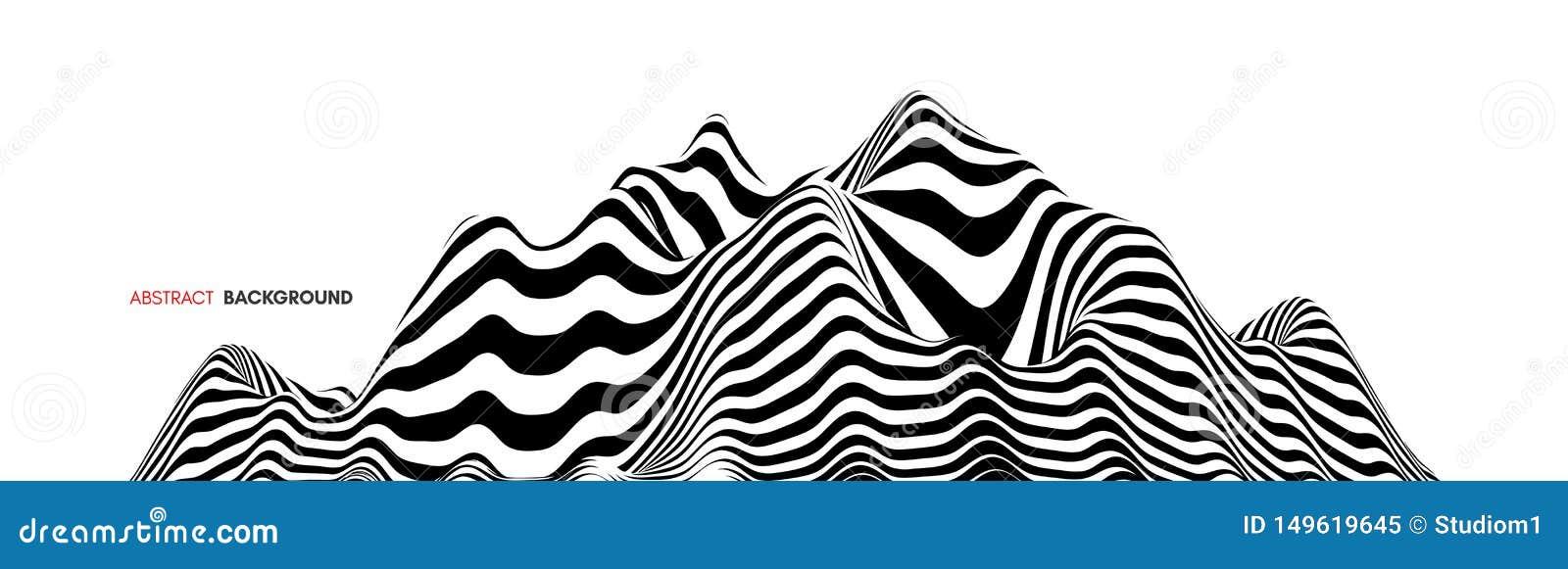 Fondo del paisaje terreno Fondo blanco y negro Modelo con la ilusi?n ?ptica ilustraci?n del vector 3d