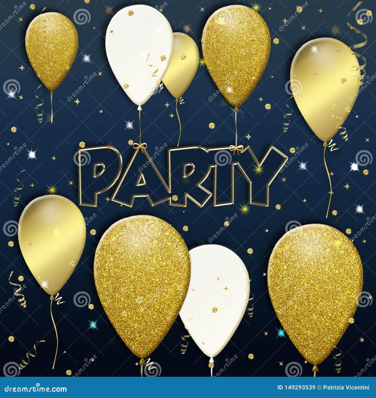 Fondo del partito con i palloni dorati di volo