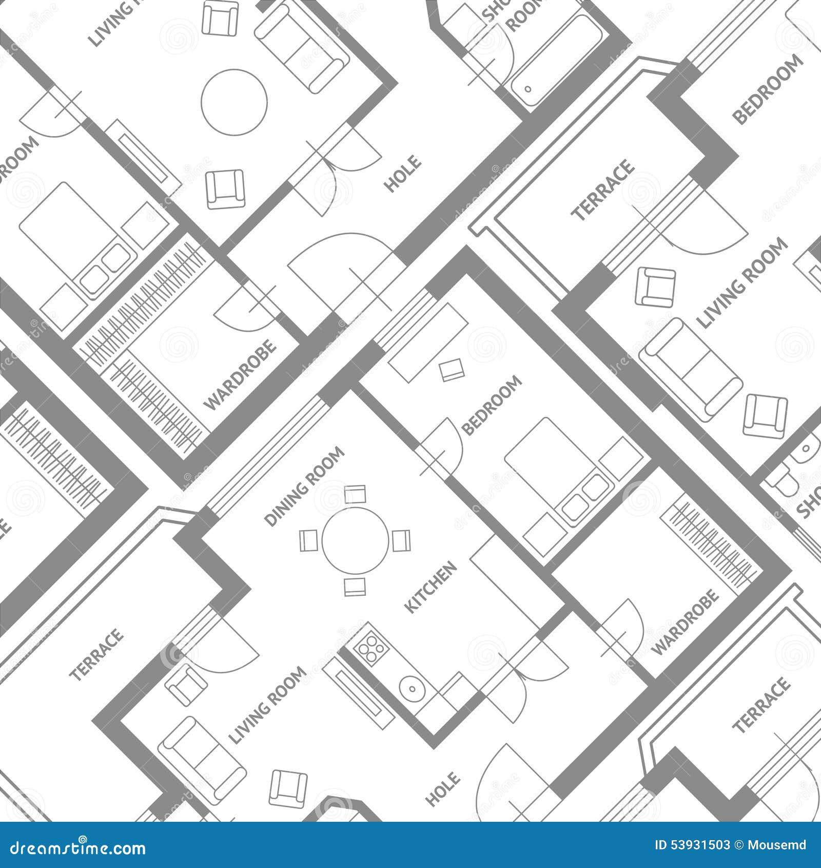 Fondo Del Plan Del Arquitecto De Los Muebles Del Vector