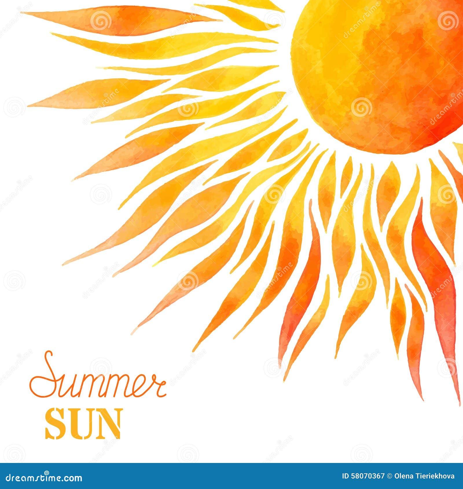 Fondo del sol del verano de la acuarela