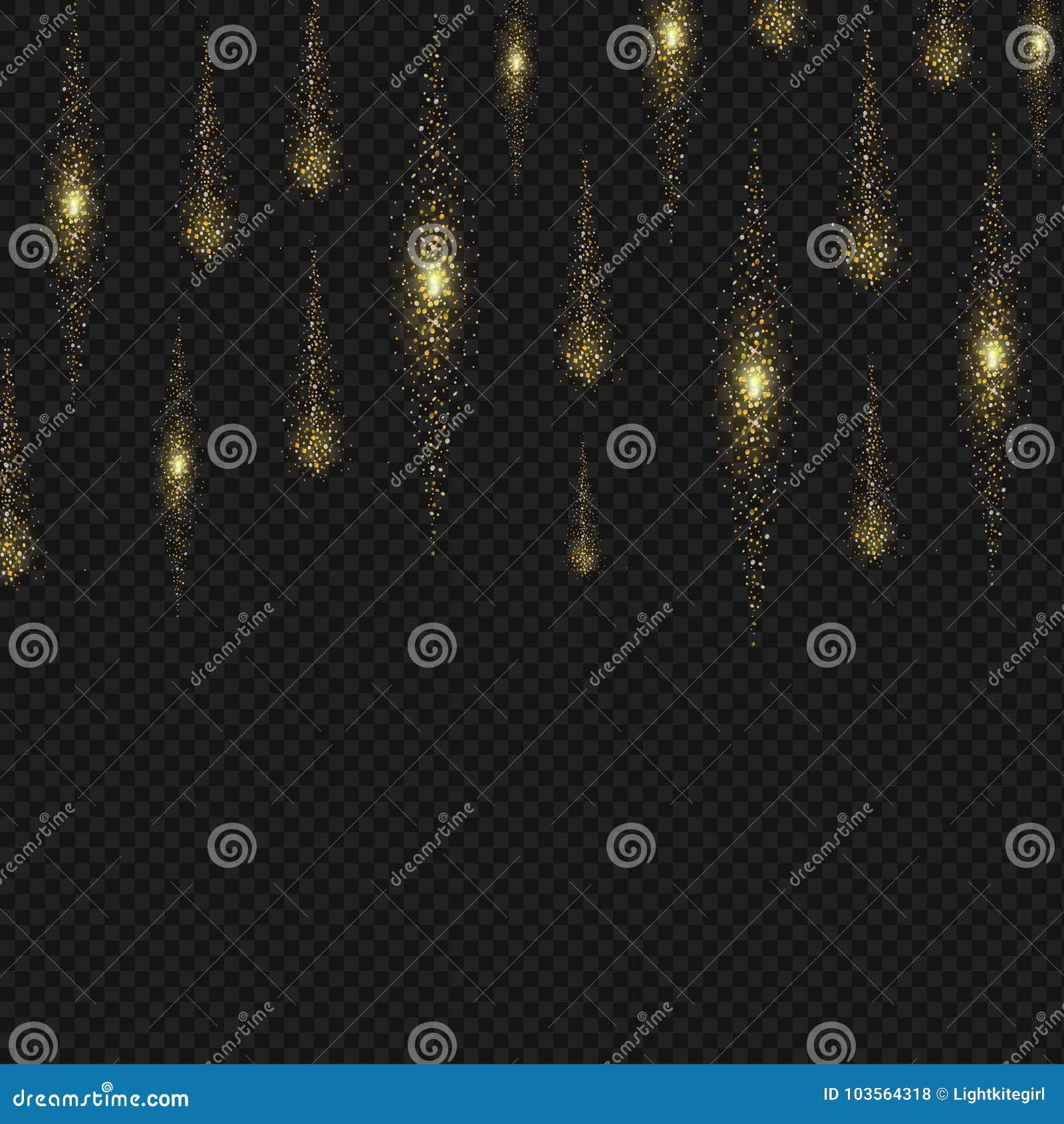 Fondo del stardust del brillo del oro Líneas chispeantes Vector de la lluvia del reflejo