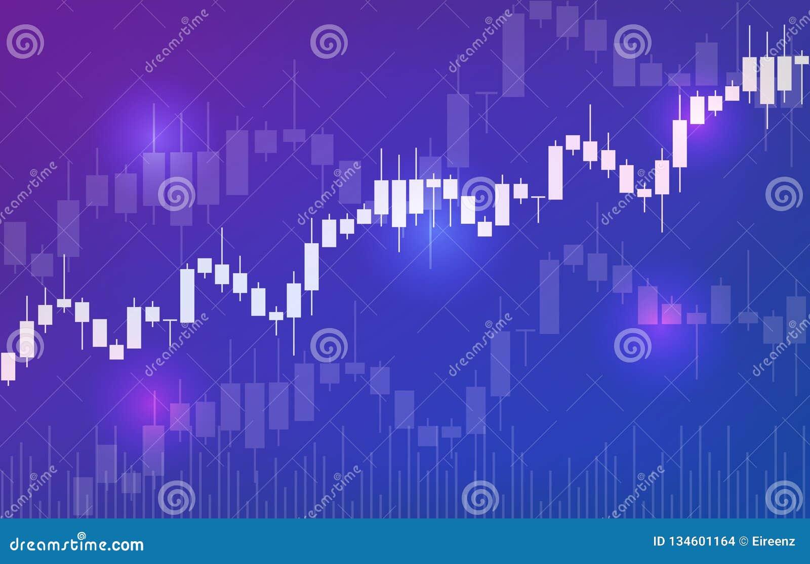 Fondo del vector con la carta de las palmatorias del mercado de acción Divisas que negocian diseño creativo