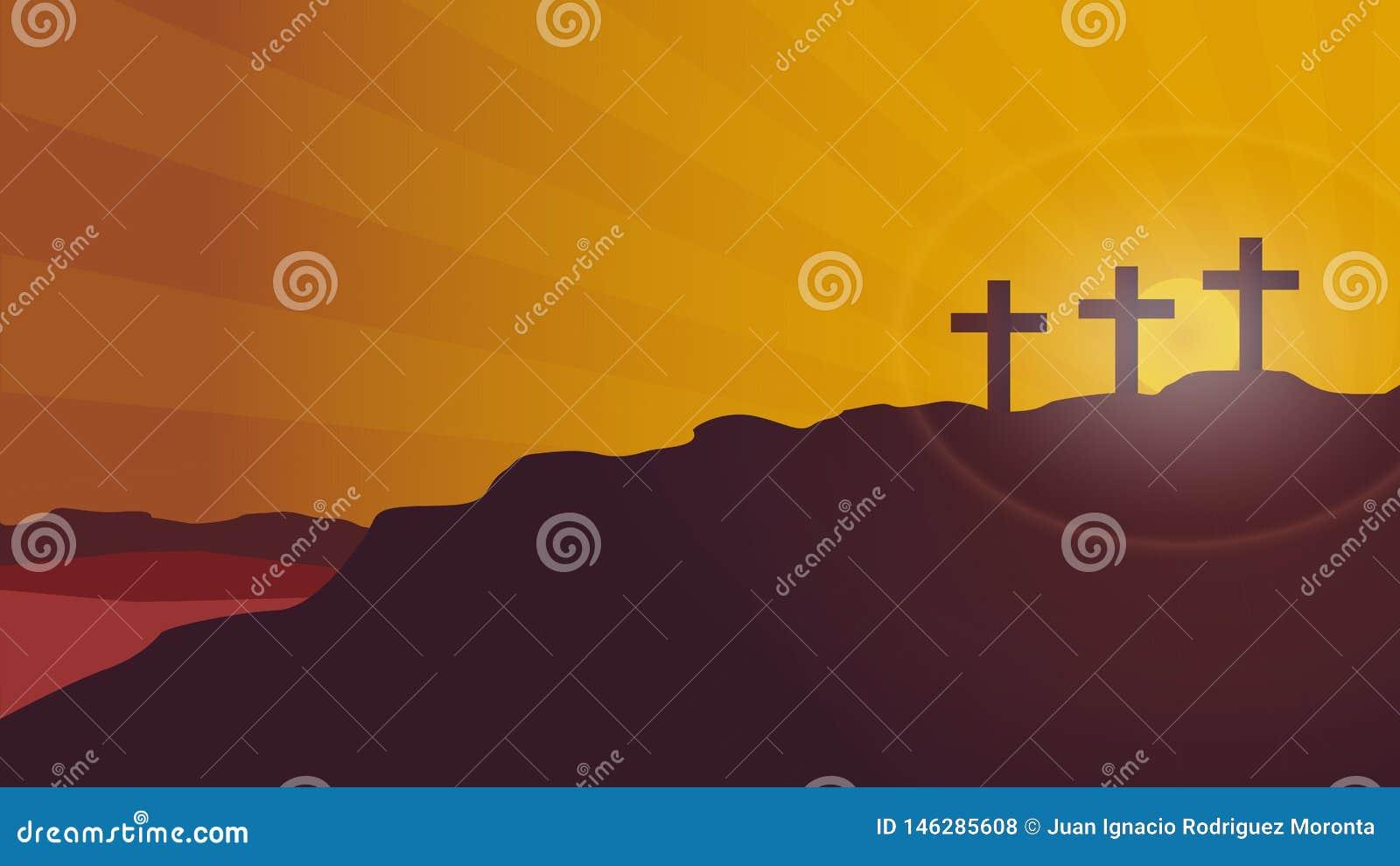 Fondo del vector de la puesta del sol de la montaña del Calvary
