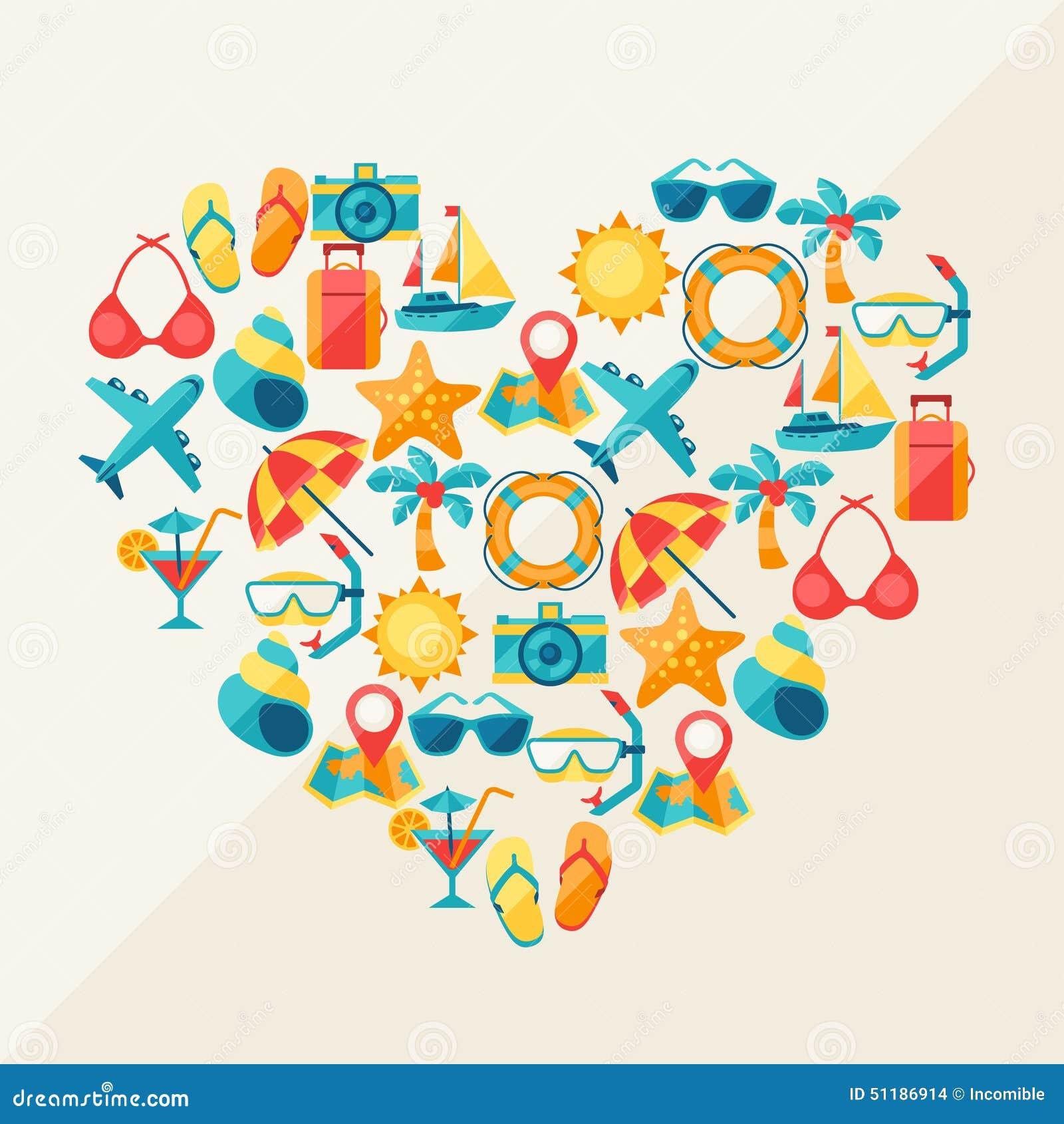 Fondo del viaje y del turismo de iconos en corazón