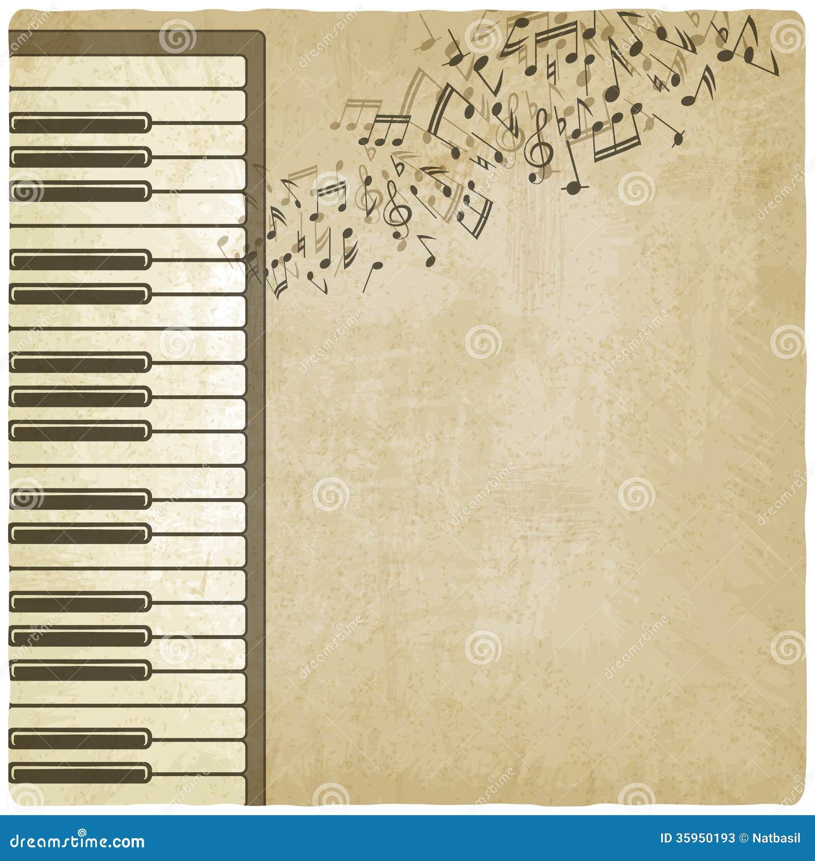 Fondo del vintage con el piano
