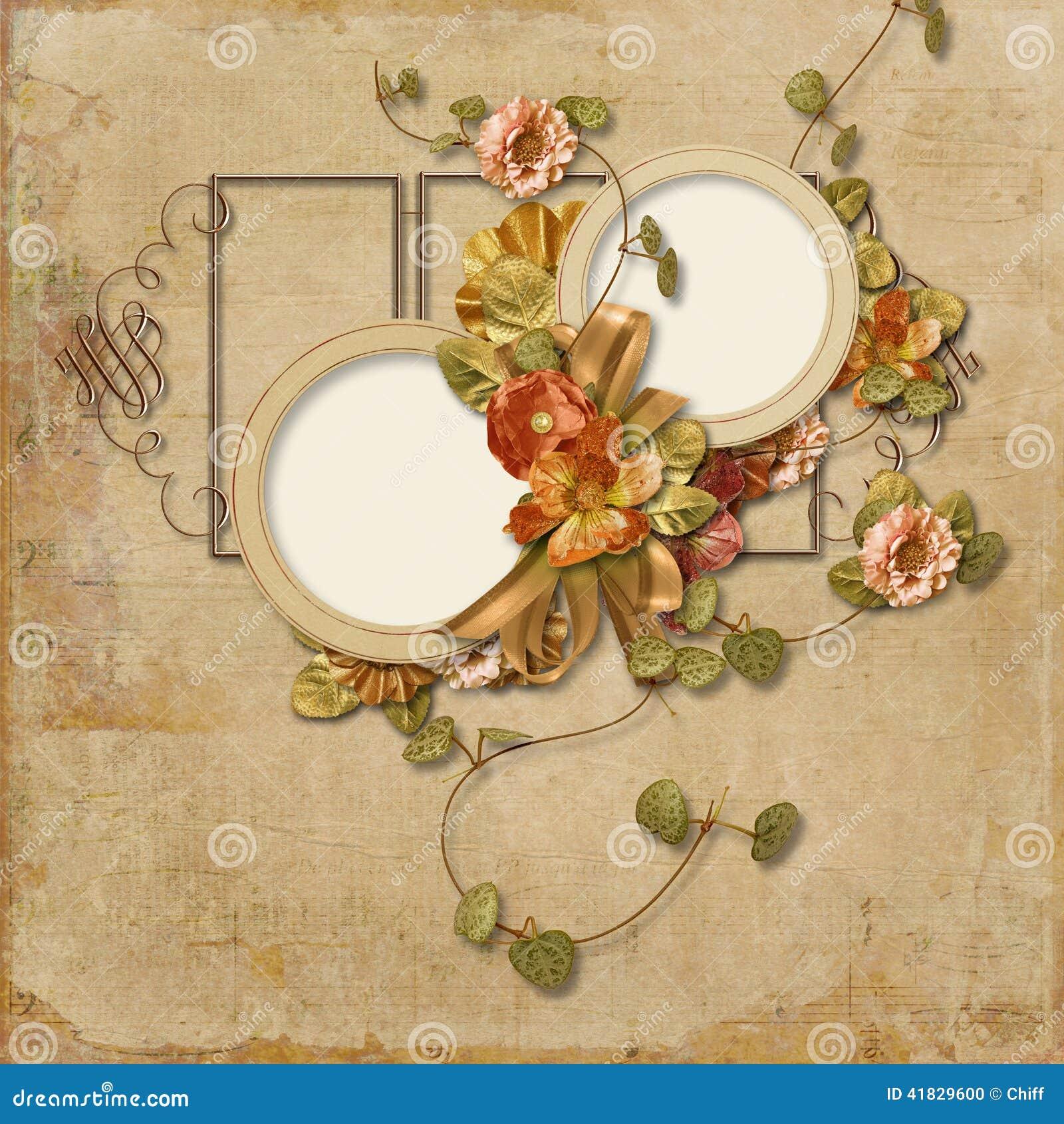 Fondo del vintage con las flores finas con el marco para las fotos stock de ilustraci n imagen - Marcos de fotos vintage ...