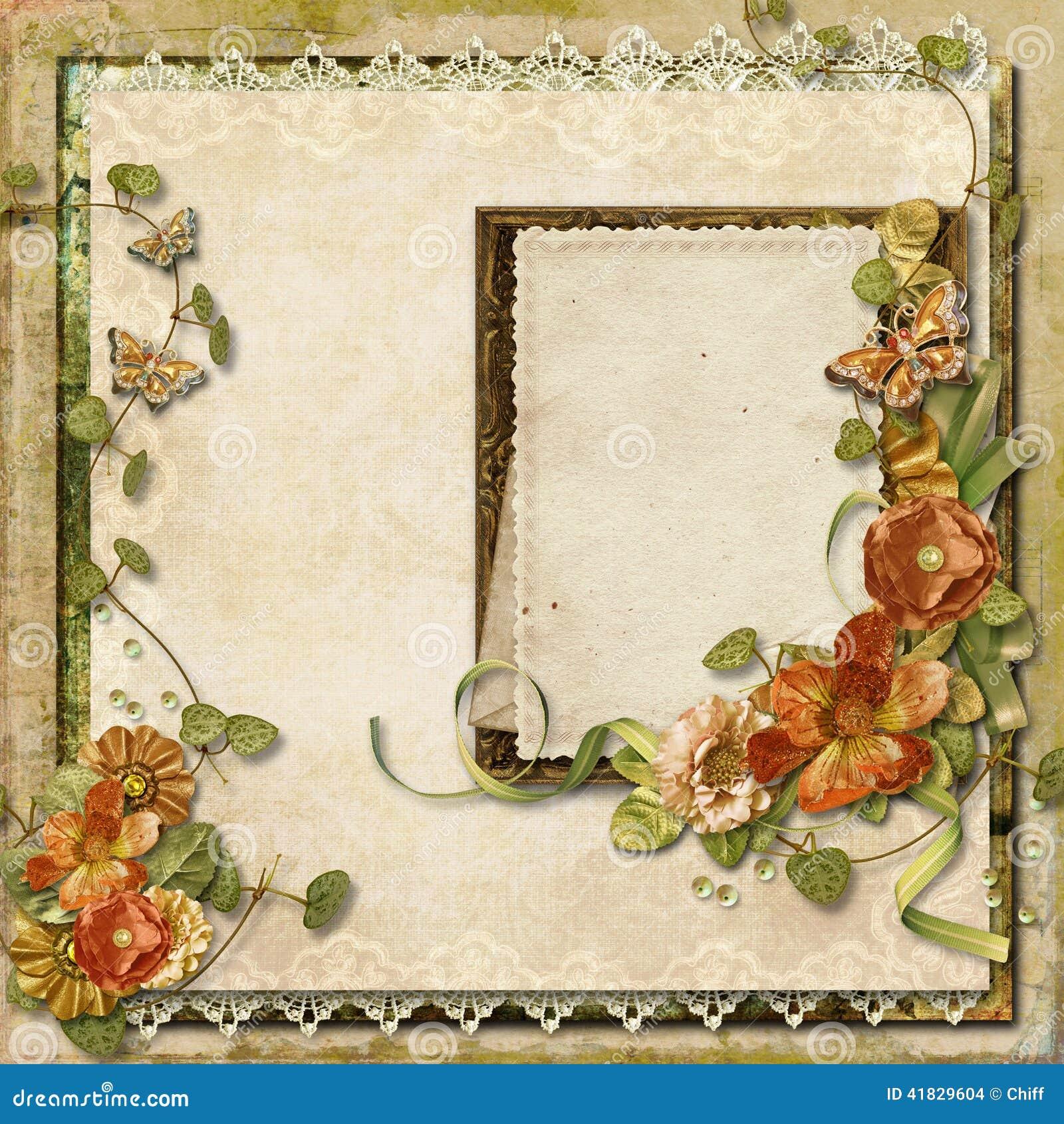 Fondo del vintage con las flores magn ficas con el marco para las fotos stock de ilustraci n - Marcos de fotos vintage ...
