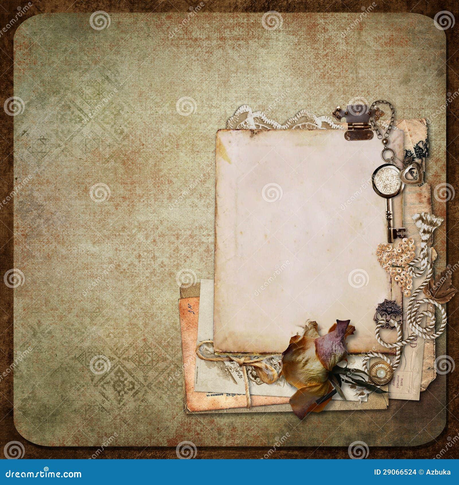 Fondo del vintage con los marcos las cartas y las - Marcos vintage para fotos ...