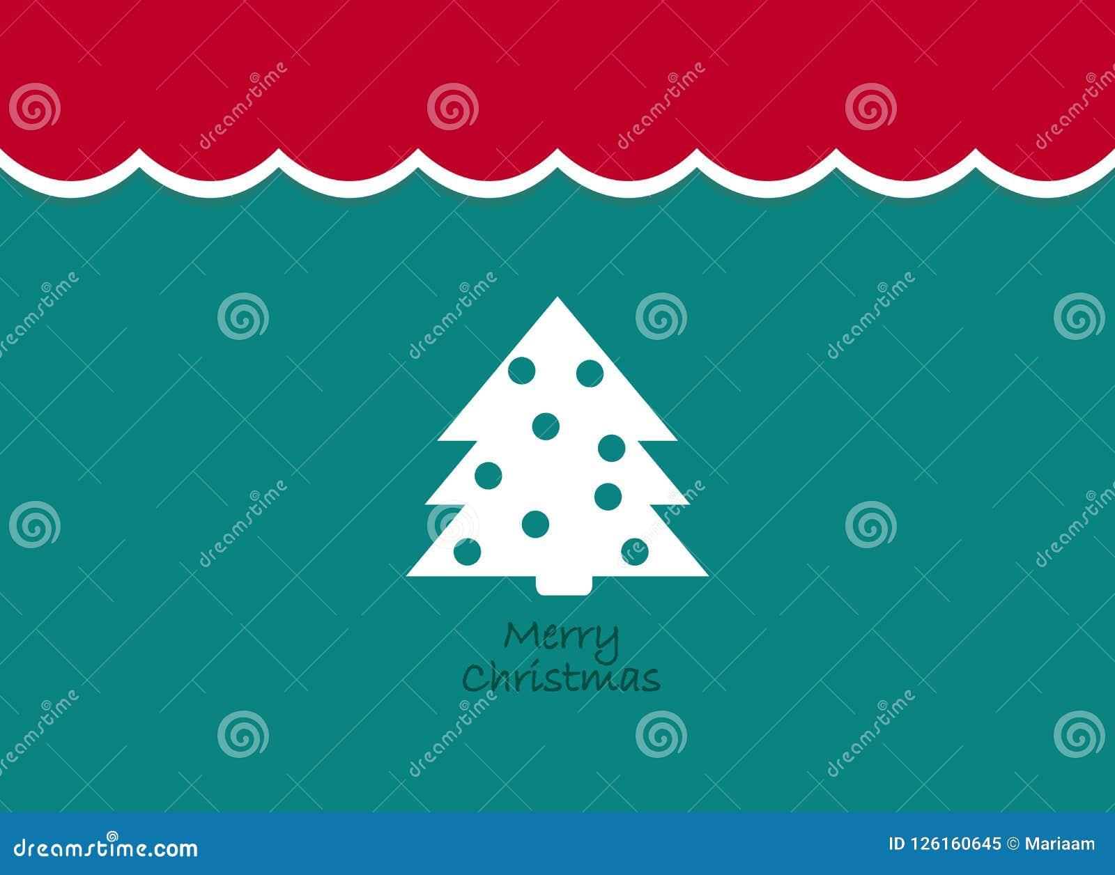 Fondo del vintage de la Feliz Navidad con el árbol Diseño plano retro