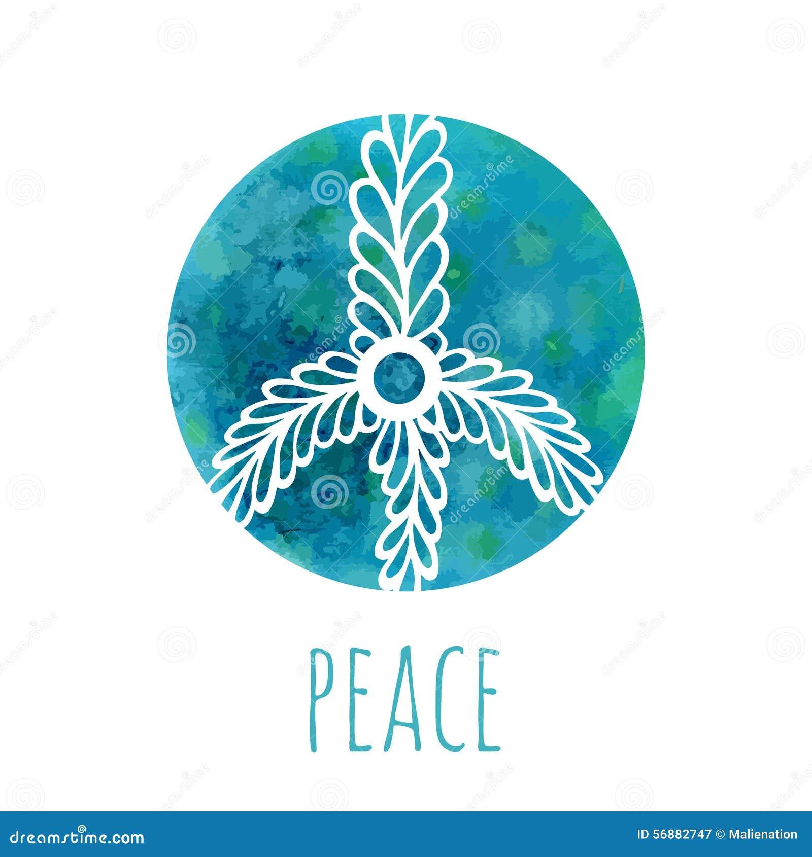 Fondo dell acquerello con il segno di pace Musica e concetto di amore con l ornamento disegnato a mano di scarabocchio Vettore di