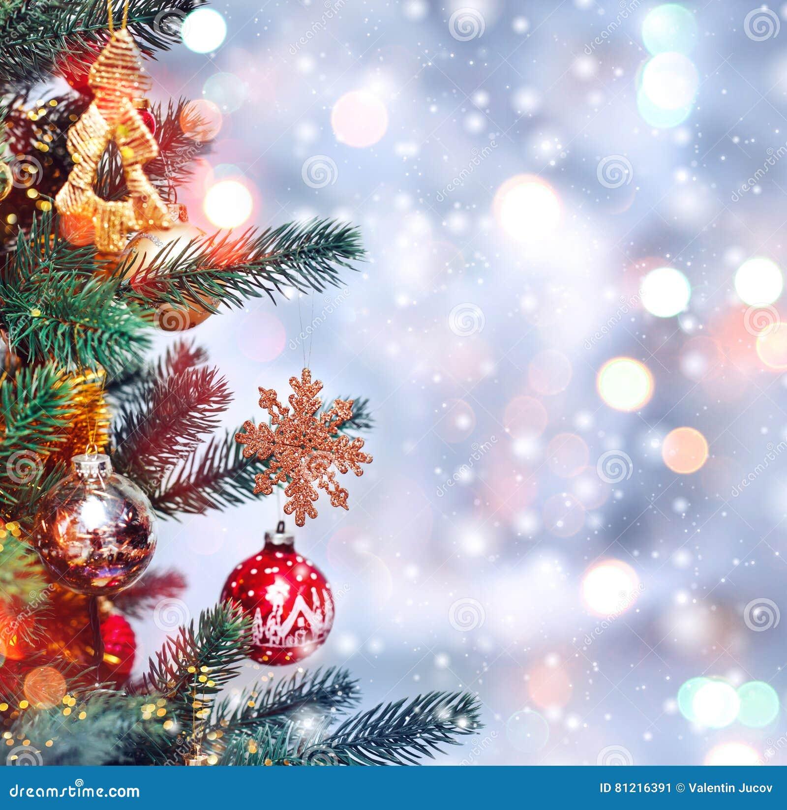 Immagini Di Natale Con La Neve.Fondo Dell Albero Di Natale E Decorazioni Di Natale Con Neve