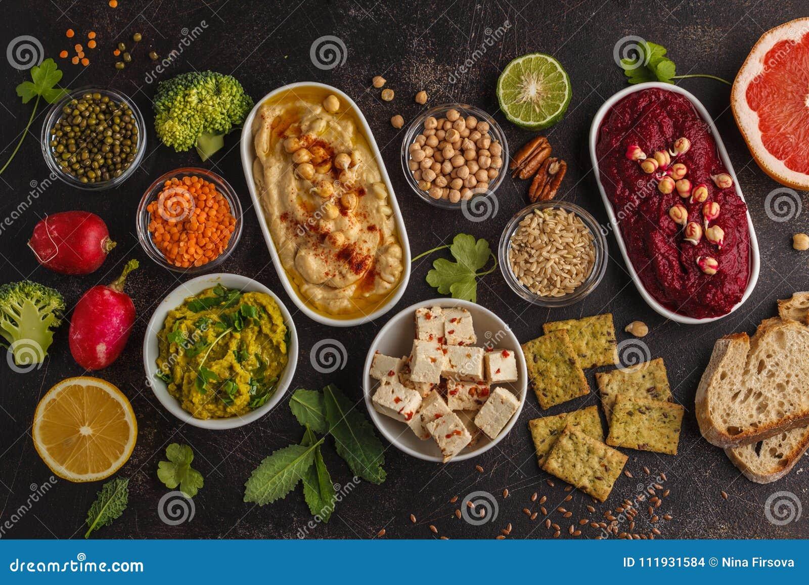 Fondo dell alimento del vegano Spuntini del vegetariano: hummus, hummu della barbabietola