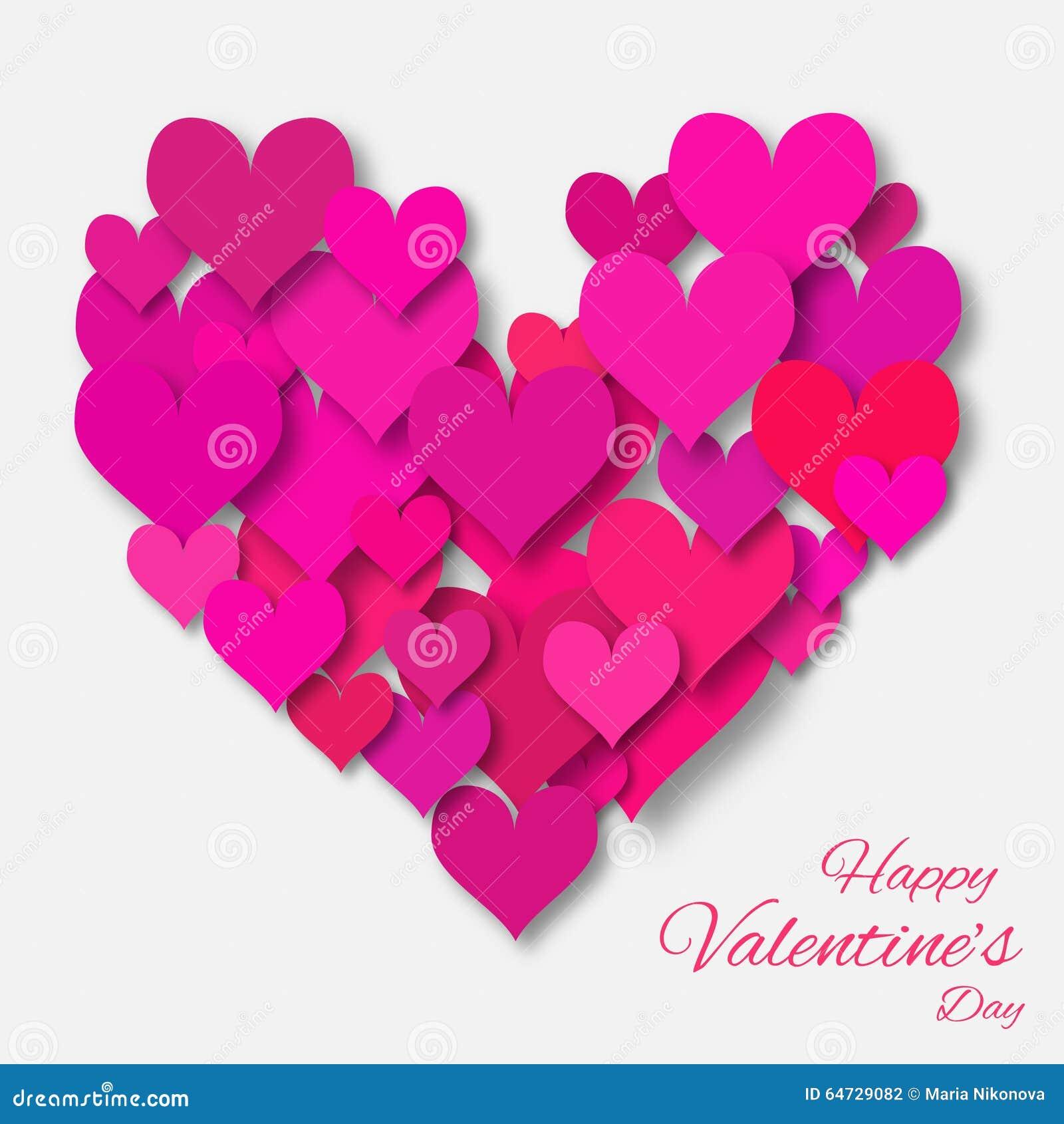 Fondo dell estratto di applique di San Valentino con il cuore della carta di rosa del taglio
