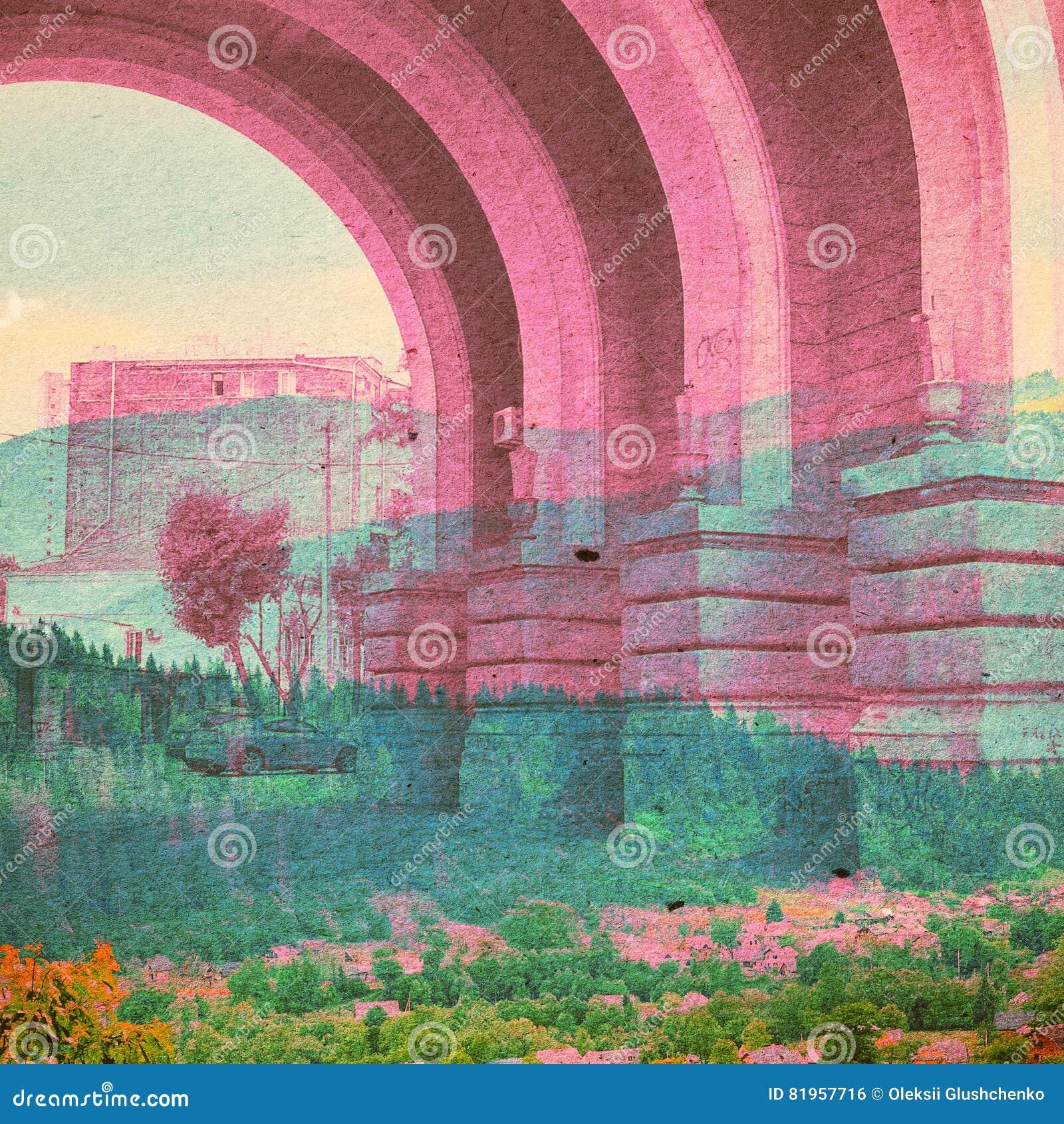 Fondo dell estratto di ecologia di fantasia Paesaggio urbano misto con il naturale su struttura di carta