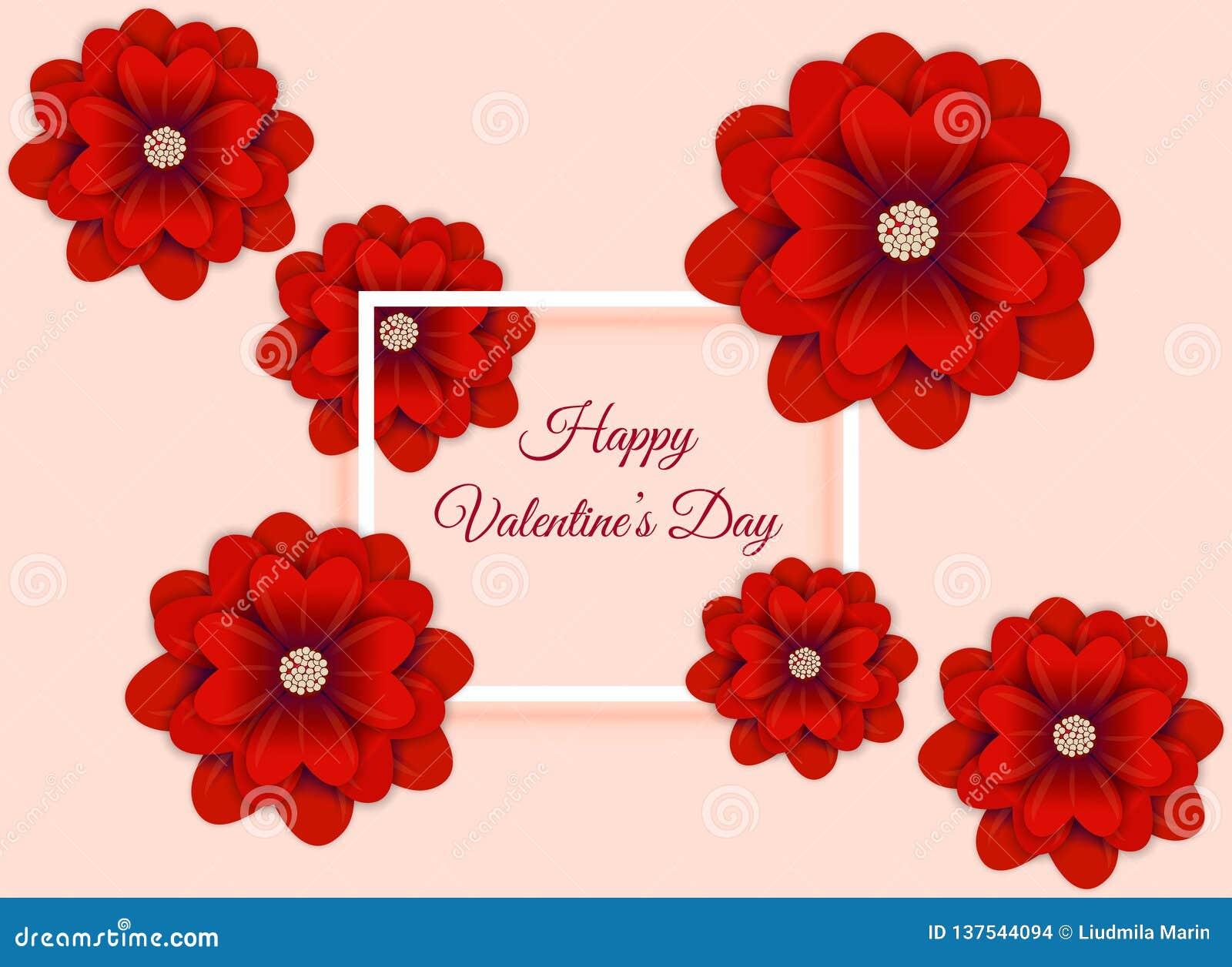 Fondo dell estratto di San Valentino con arte della carta del fiore Illustrazione di vettore