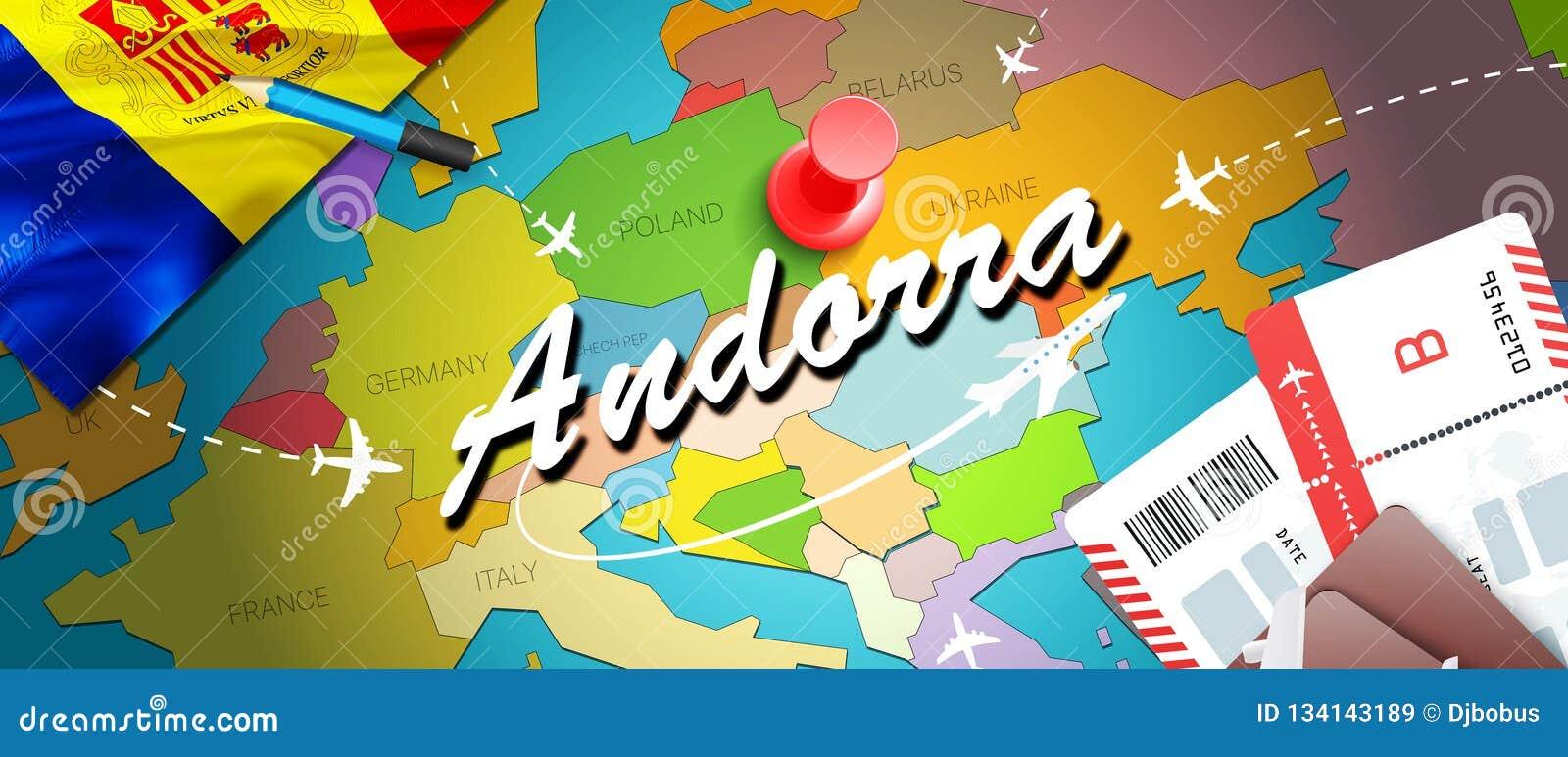 Fondo della mappa di concetto di viaggio dell Andorra con gli aerei, biglietti Viaggio dell Andorra di visita e concetto della de