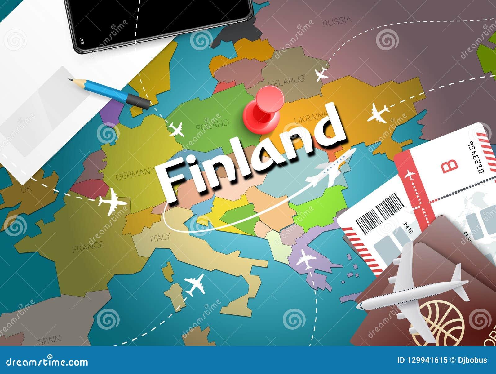 Fondo della mappa di concetto di viaggio della Finlandia con gli aerei, biglietti Visi