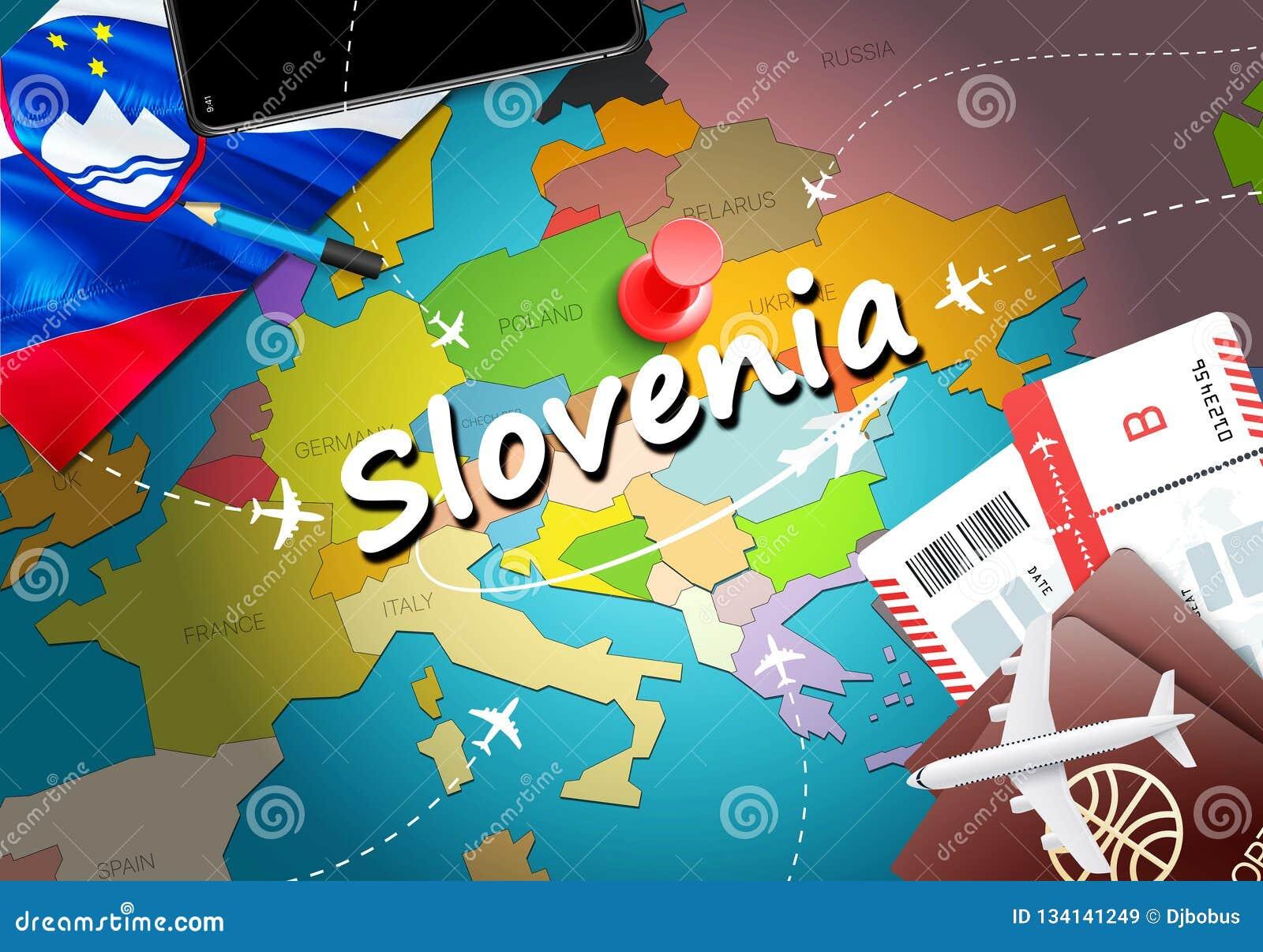 Fondo della mappa di concetto di viaggio della Slovenia con gli aerei, biglietti Viaggio della Slovenia di visita e concetto dell