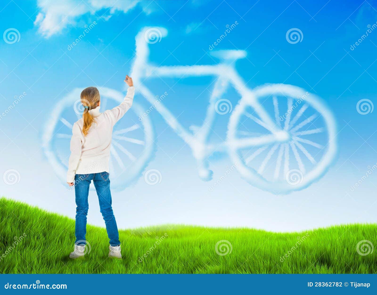 Fondo della natura con una bicicletta del disegno della - Immagine di una ragazza a colori ...