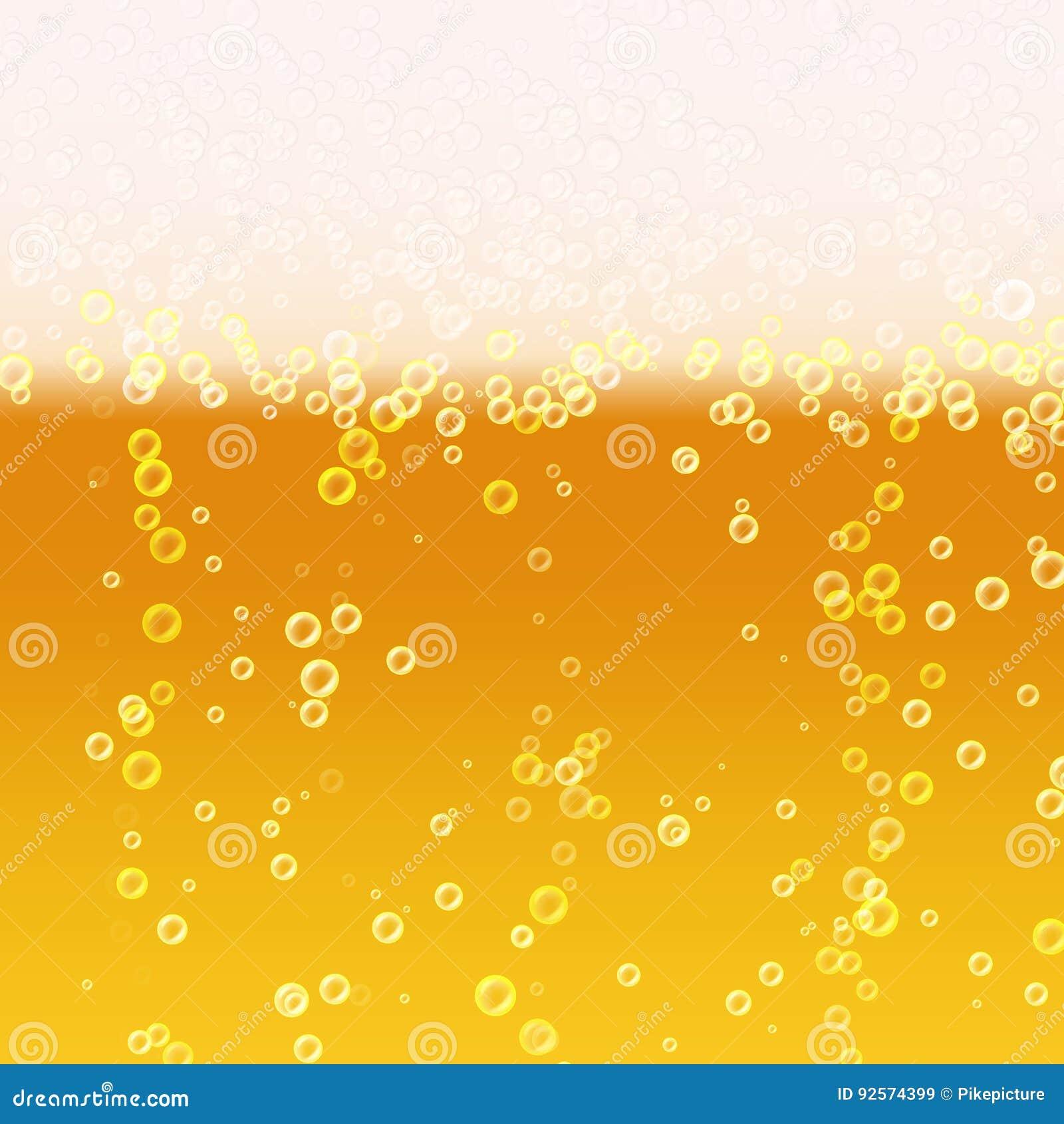 Fondo della schiuma della birra Struttura realistica della birra Luminoso leggero, bolla e liquido Illustrazione di vettore
