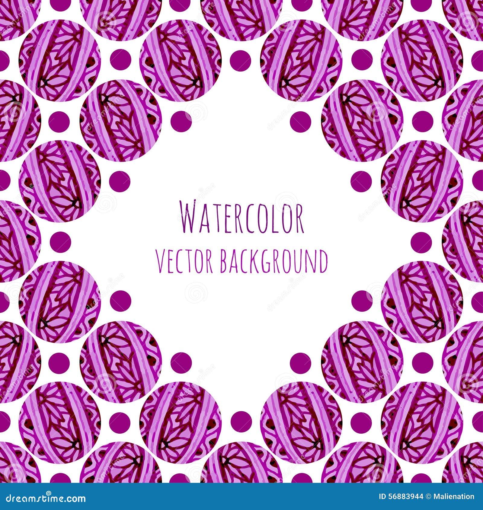Fondo della struttura dell acquerello con i cerchi floreali rosa che tricottano struttura Illustrazione disegnata a mano di vetto