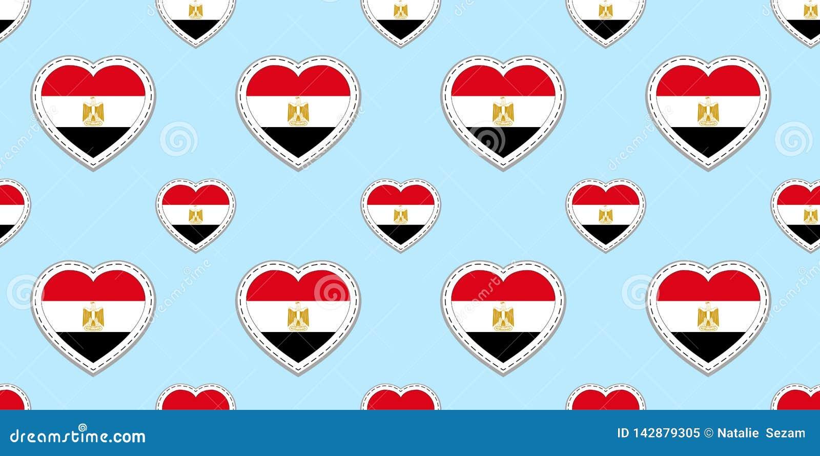 Fondo delle bandiere dell Egitto Modello senza cuciture della bandiera egiziana Contrassegni lucidi in bianco di vettore Simboli