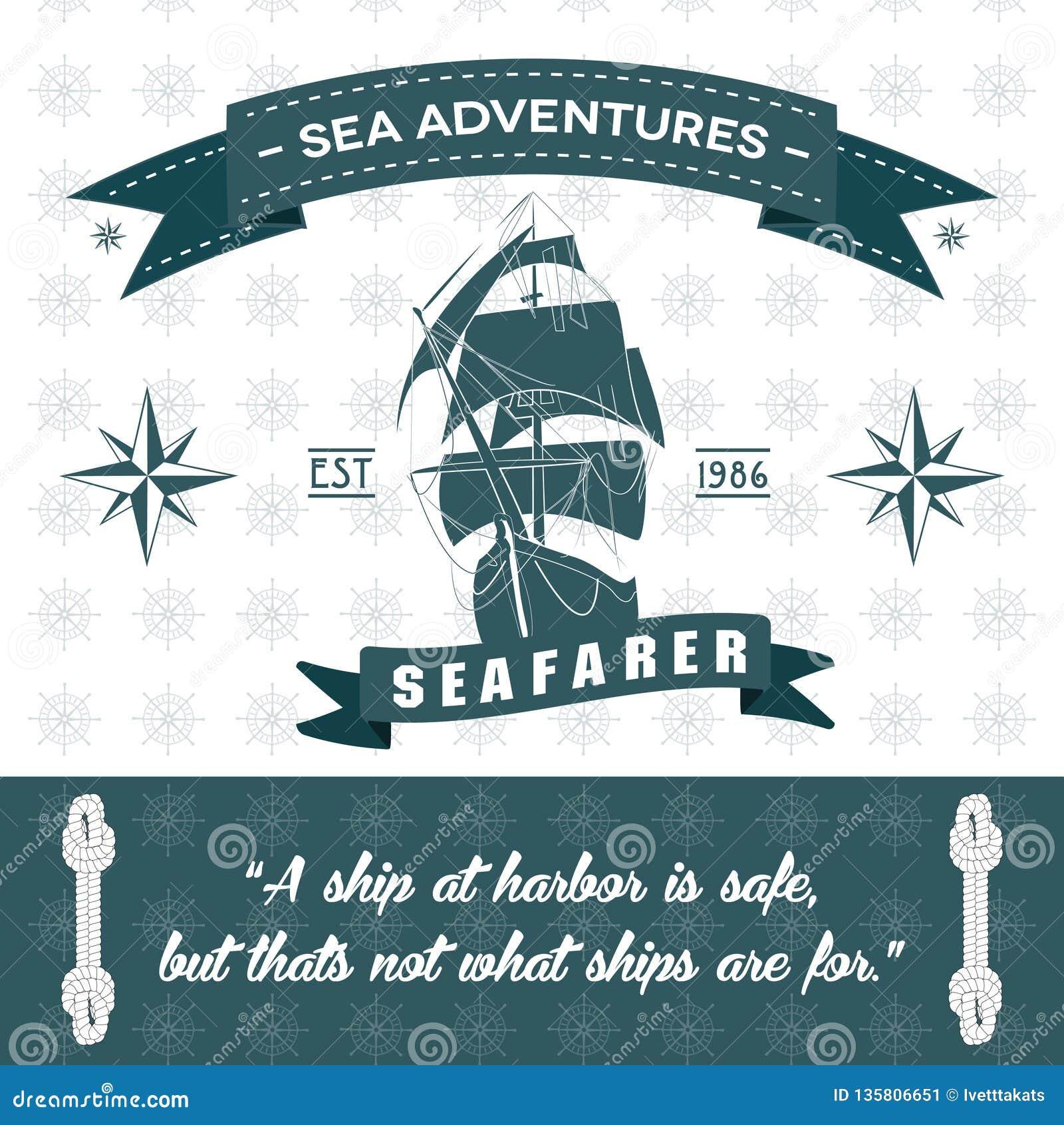 Fondo detallado de las aventuras del mar de la cuerda temática de la nave