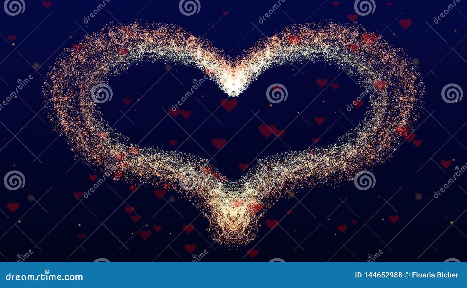 Fondo di amore con cuore rosso per il San Valentino Backgrop blu profondo Il fuoco è su cuore