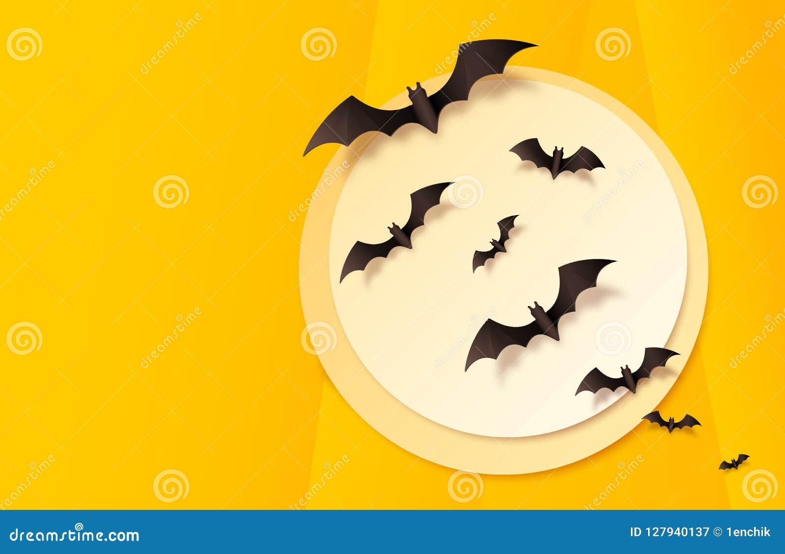 Fondo di carta arancio di Halloween di vettore di stile con la grande luna ed i pipistrelli neri che volano attraverso