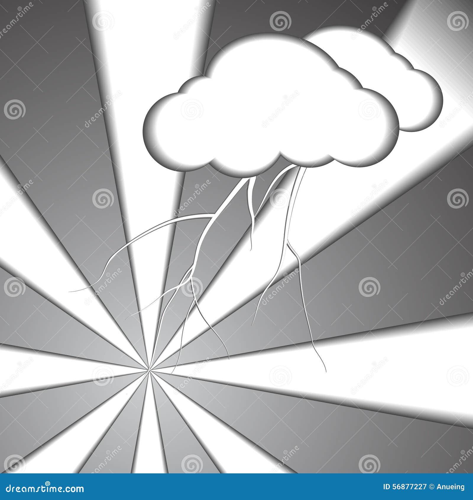 Fondo di carta di stile del bullone e della nuvola