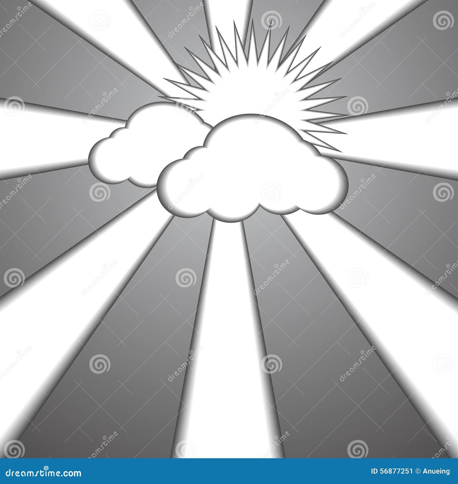 Fondo di carta di stile del sole e della nuvola