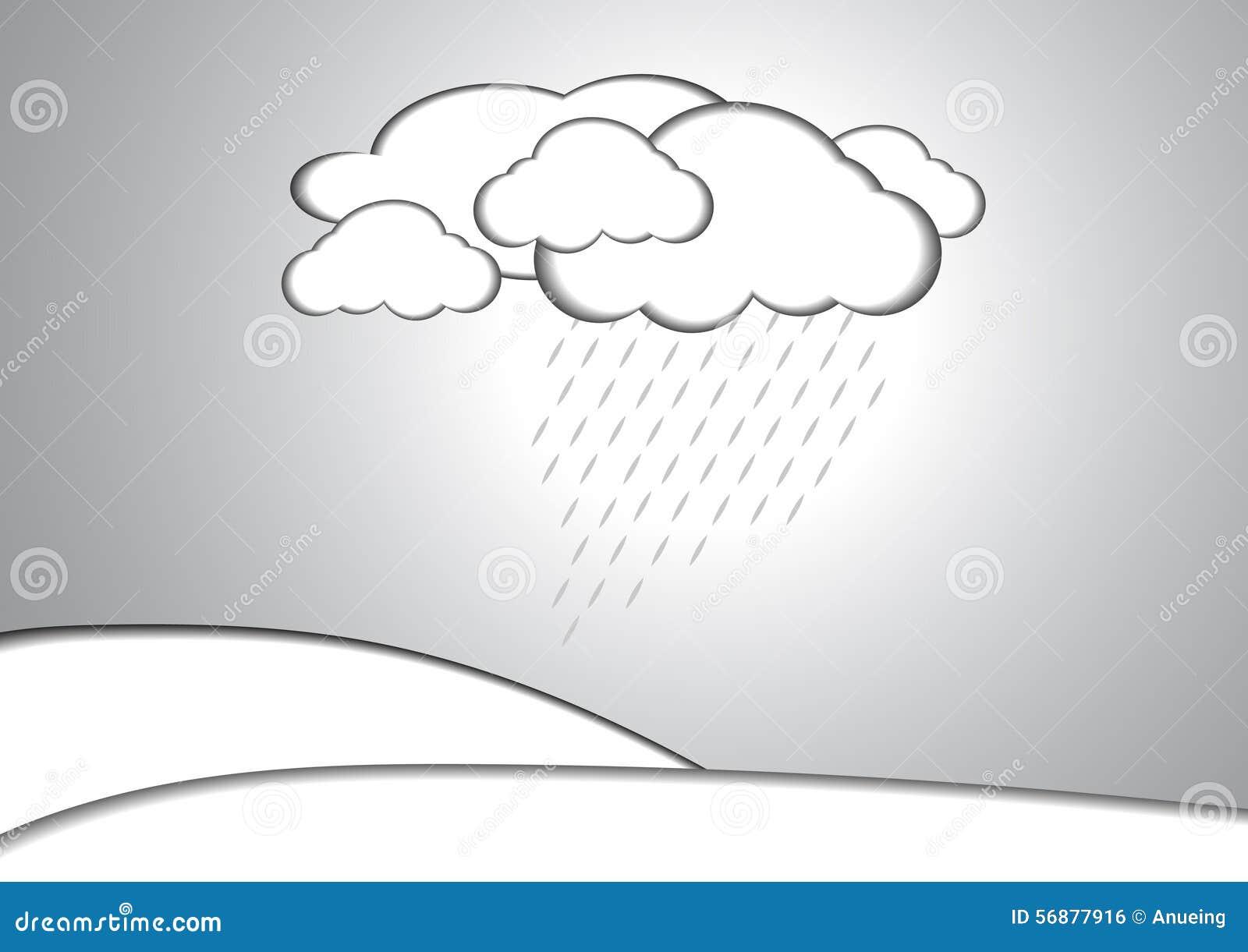 Fondo di carta di stile della pioggia e della nuvola