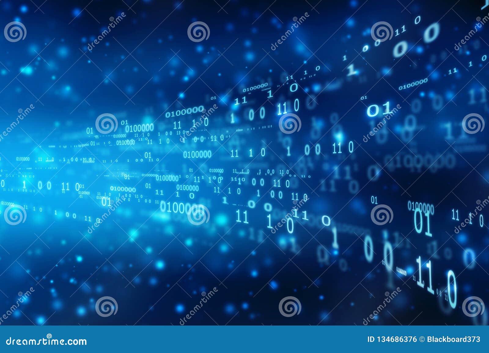 Fondo di codice binario, scorrere numero uno e testo zero nel formato di codice binario nel fondo di tecnologia