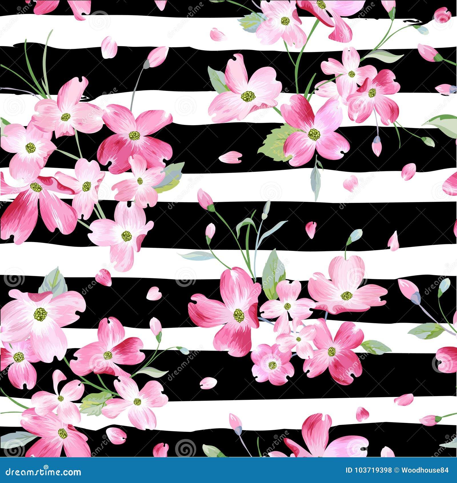 Fondo di fioritura del modello di fiori della primavera Stampa senza cuciture di modo