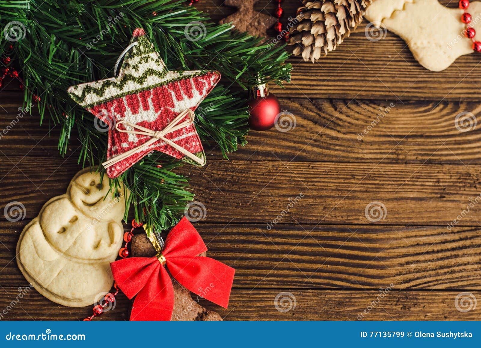 Decorazioni Natalizie Con La Cannella.Fondo Di Legno Di Natale Con I Biscotti Di Natale La