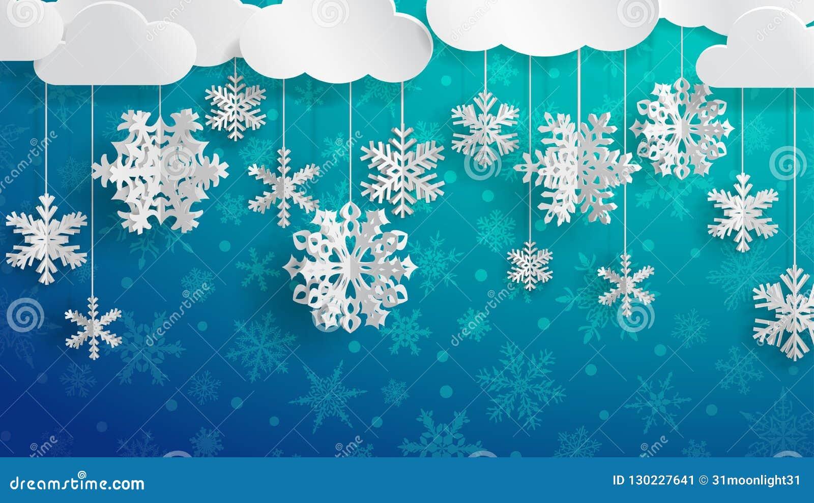 Fiocchi Di Neve Di Carta Modelli : Fondo di natale con i fiocchi di neve di carta tridimensionali