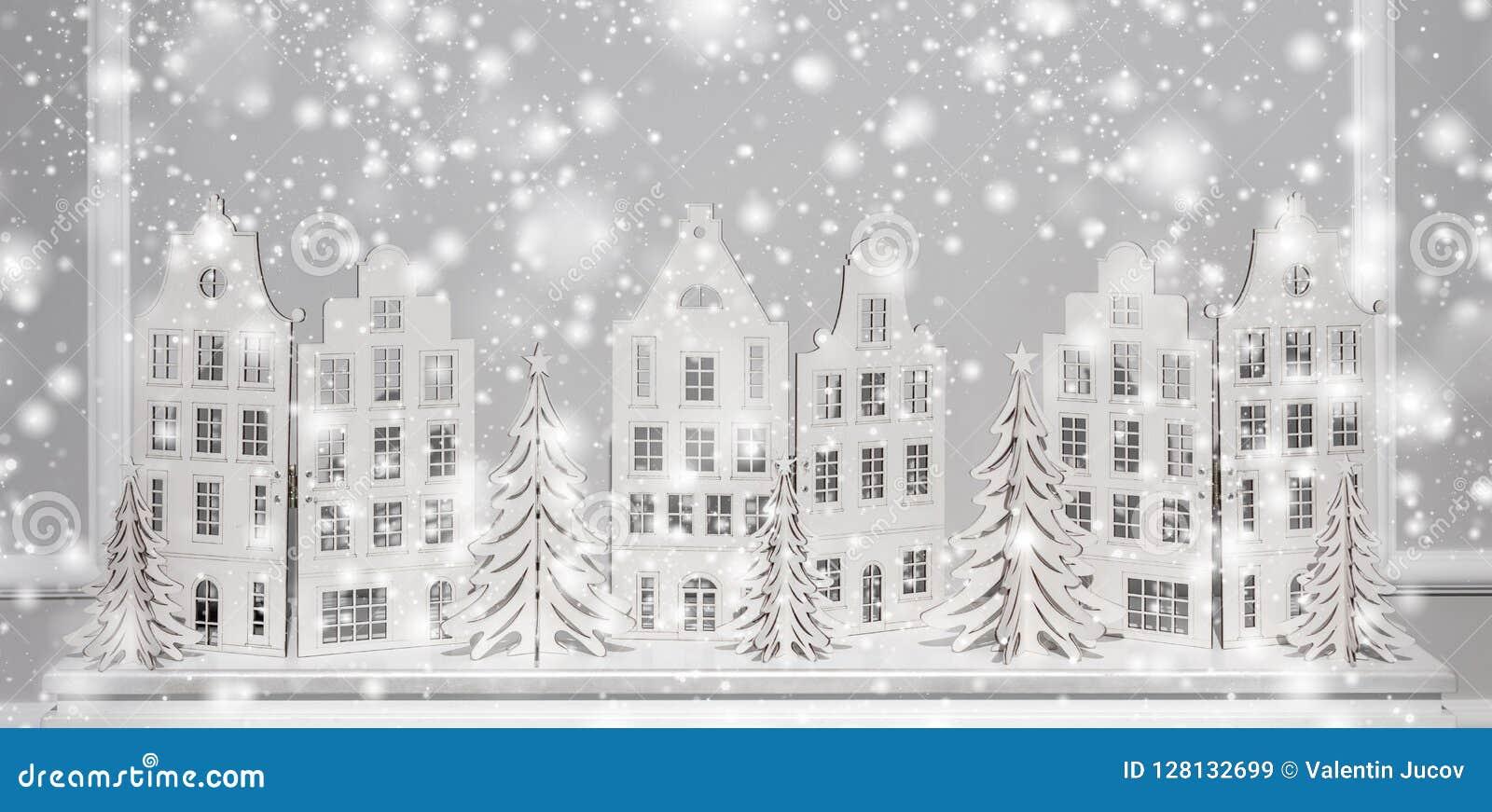 Fondo di Natale delle decorazioni di carta Composizione nel buon anno ed in natale