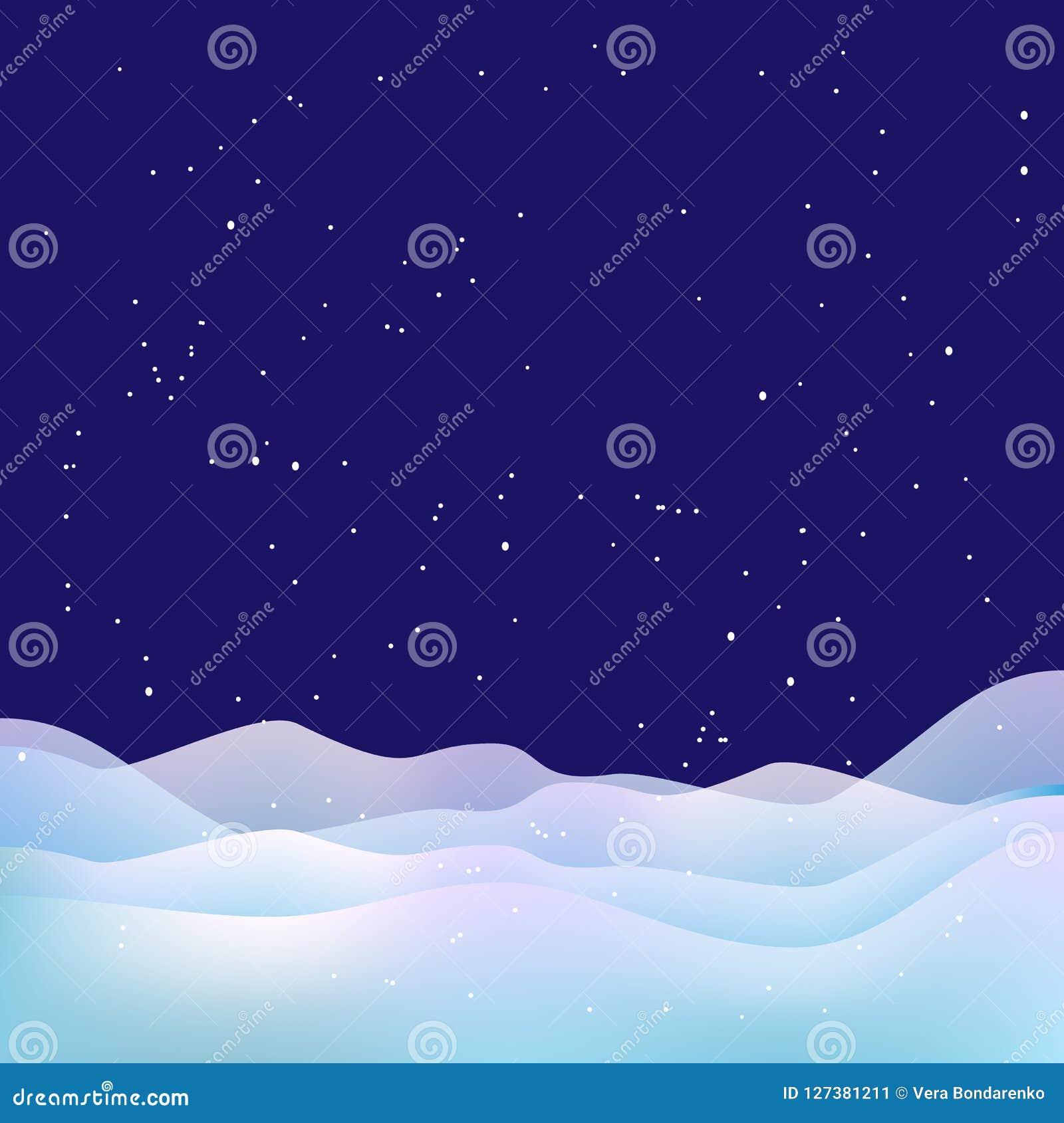 Fondo di notte di natale Neve, stelle e cumuli di neve