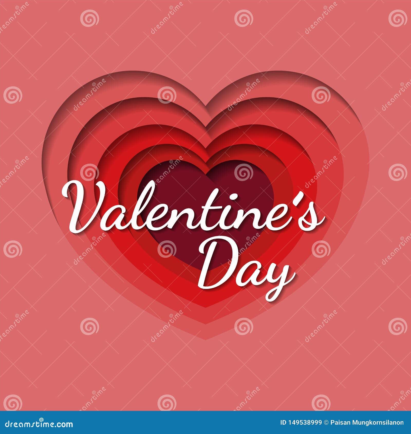 Fondo di San Valentino con cuore a forma di nello stile di carta di arte, invito dell aletta di filatoio, manifesti, opuscolo, in