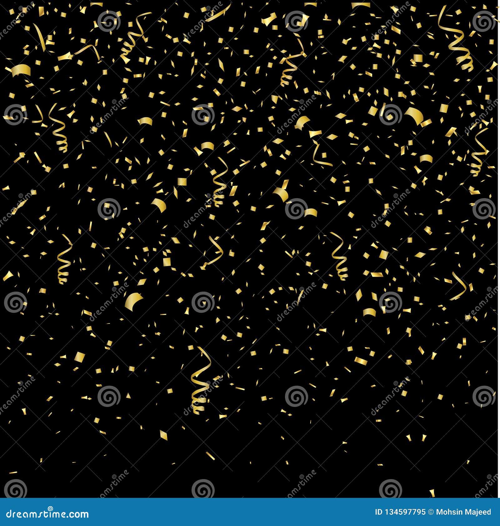 Fondo di scintillio dell oro con i coriandoli della luce di lustro della scintilla Fondo nero brillante di vettore