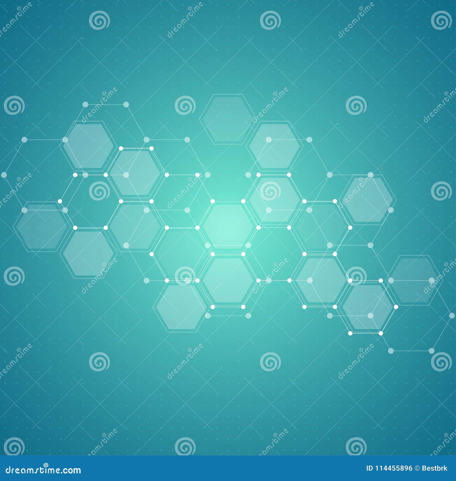 Fondo di tecnologia con gli esagoni Struttura molecolare e composti chimici